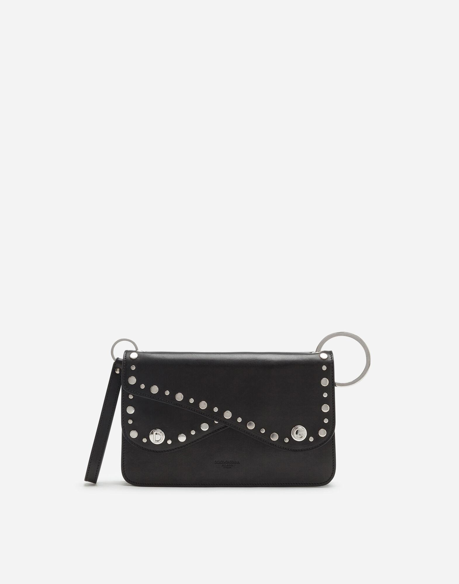 Biker bag in cowhide with embroidered studs