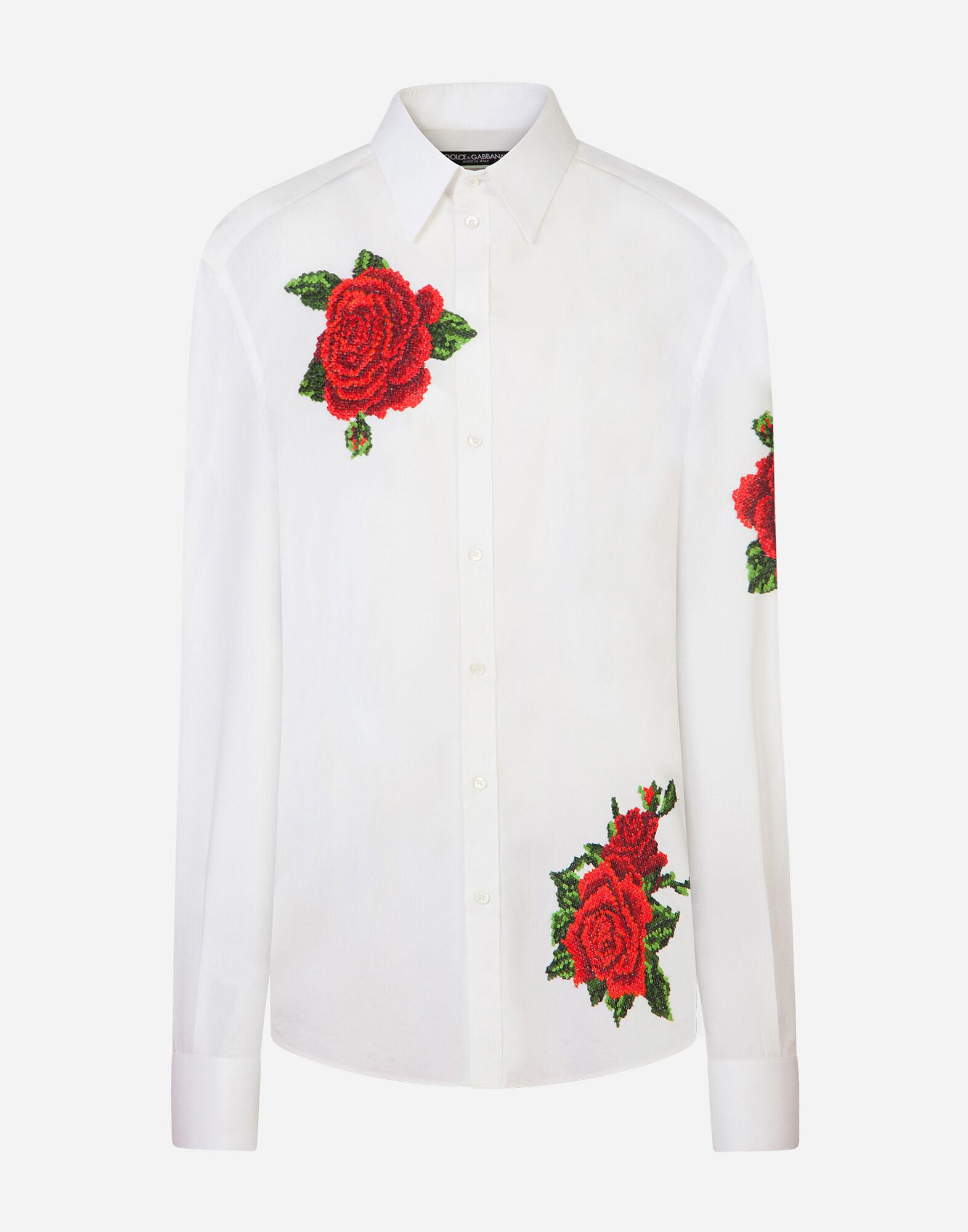 Shirt with hand-embroidered roses 3