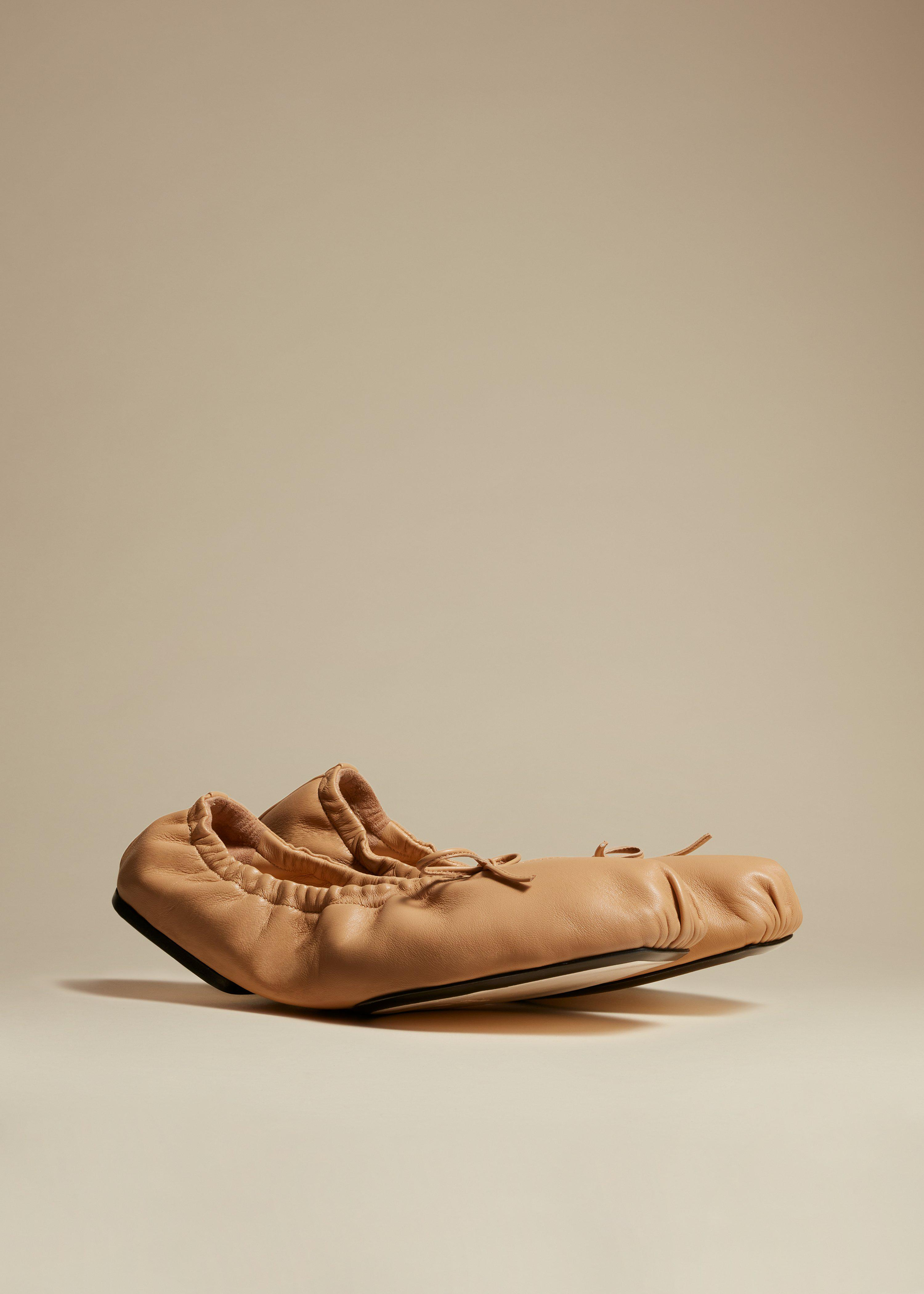 The Ashland Ballet Flat in Tan Leather 1