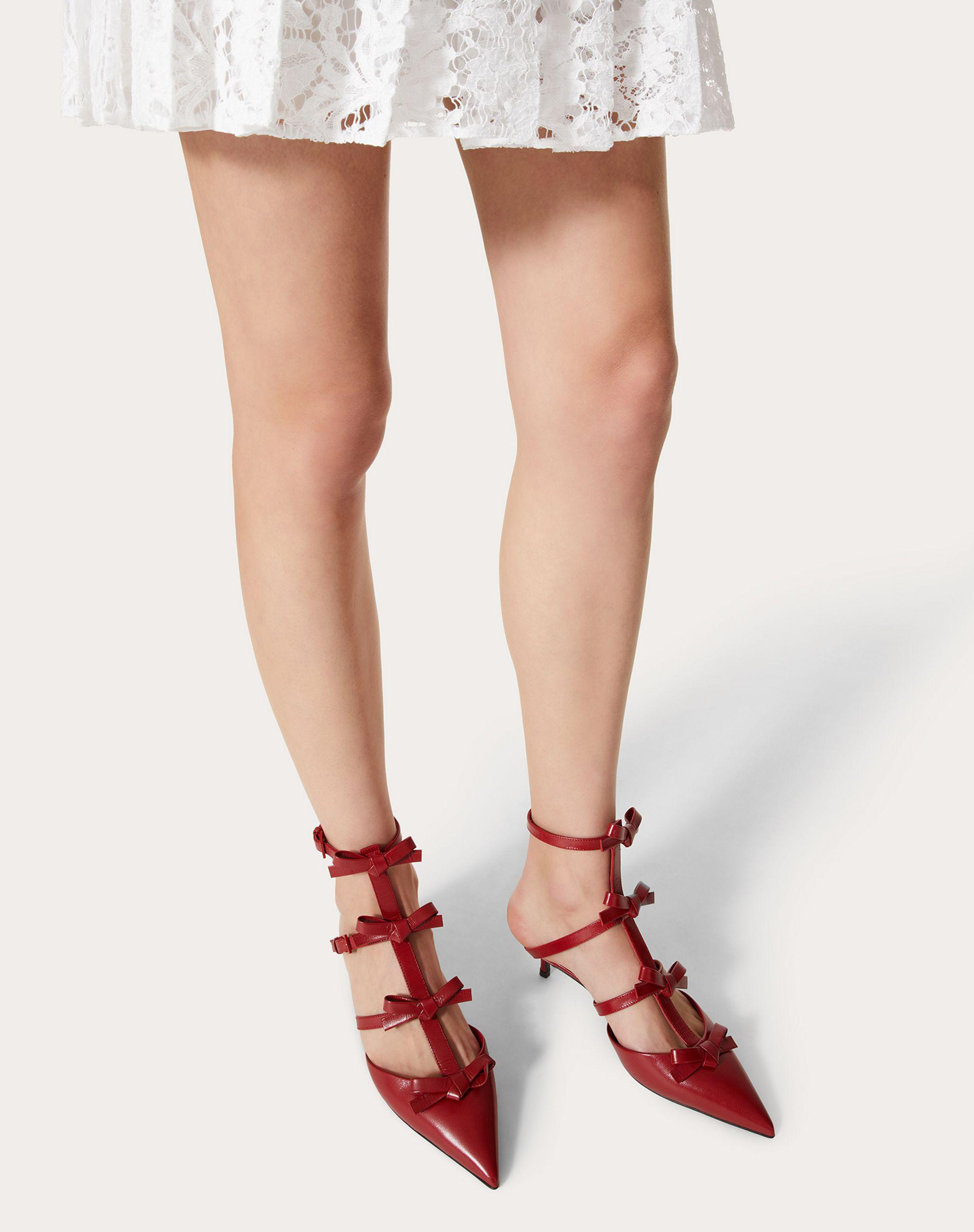 ANKLE STRAP PUMP WITH KIDSKIN FRENCH BOWS  40 MM 5