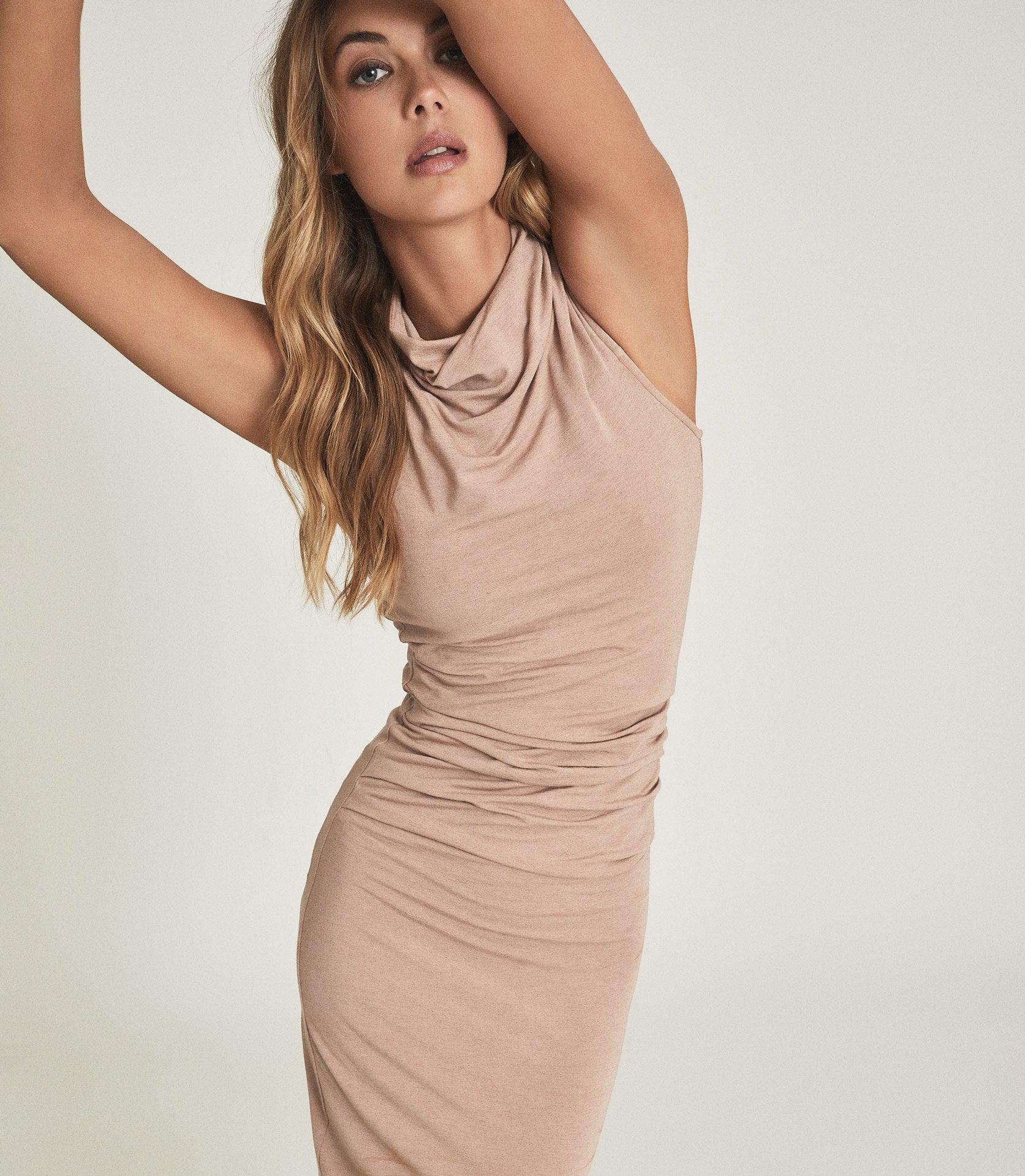 TORA - RUCHED WOOL-JERSEY BODYCON DRESS 4