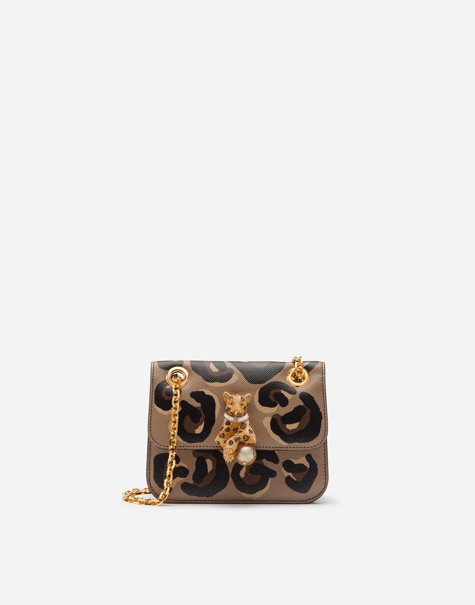 Small jungle bag in calfskin with DG leo print and bejeweled closure