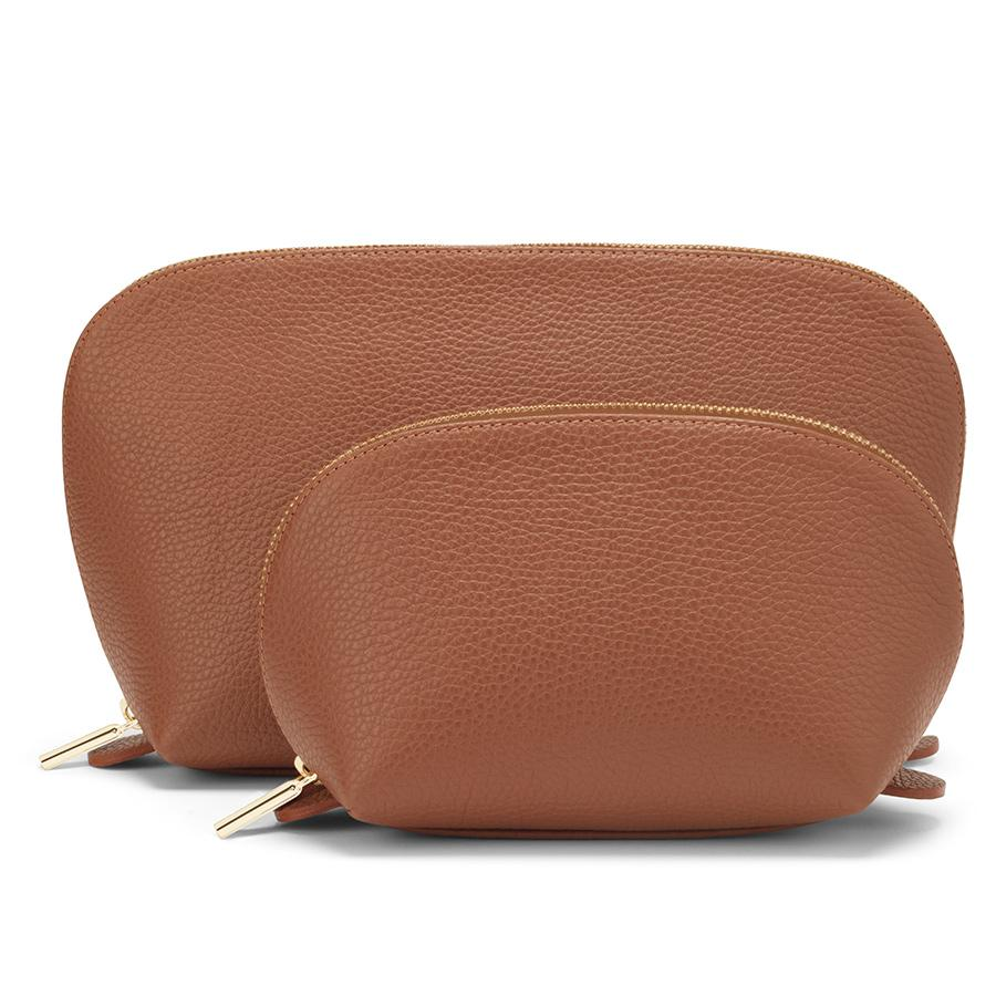 Women's Leather Travel Case Set in Caramel | Pebbled Leather by Cuyana