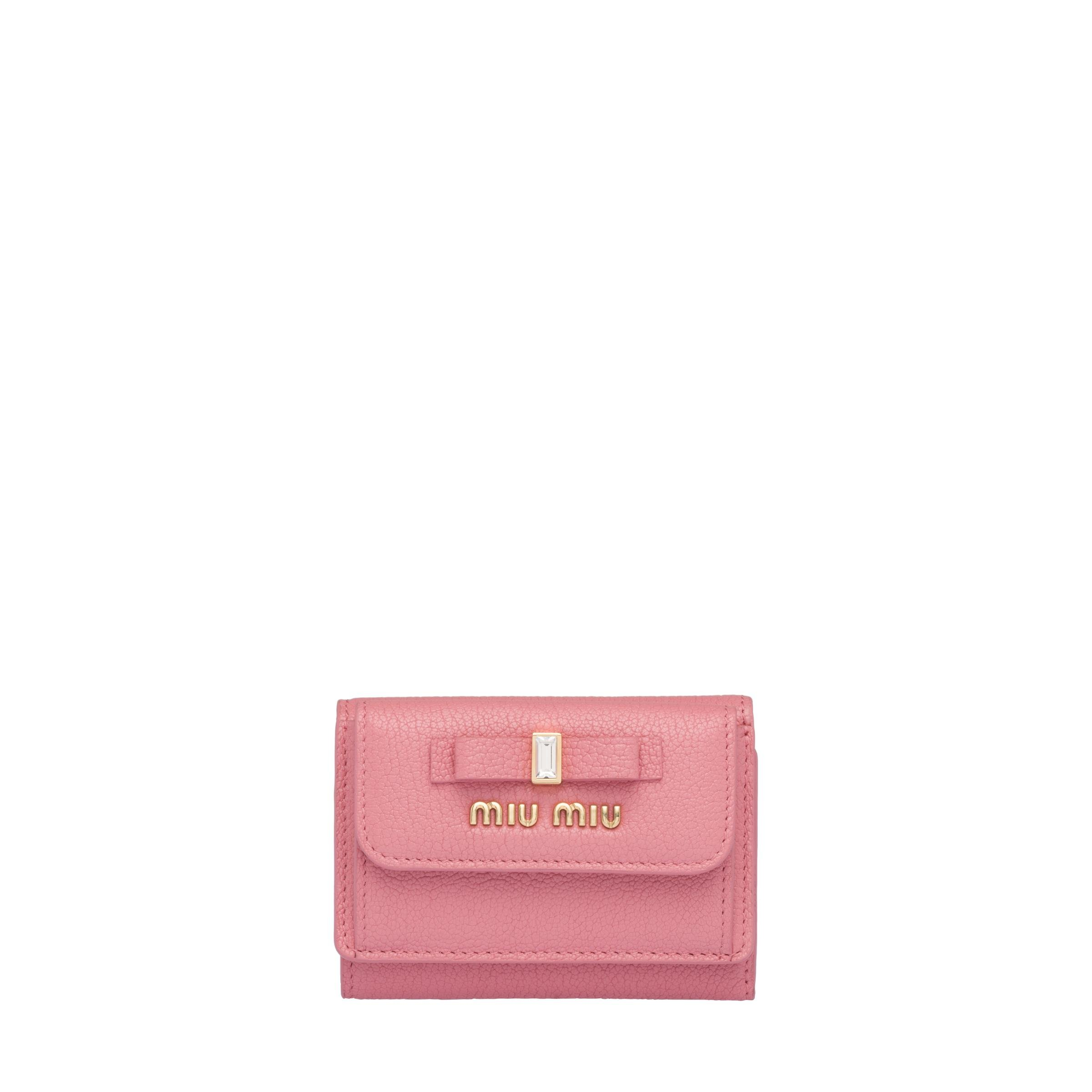 Madras Leather Wallet Women Pink