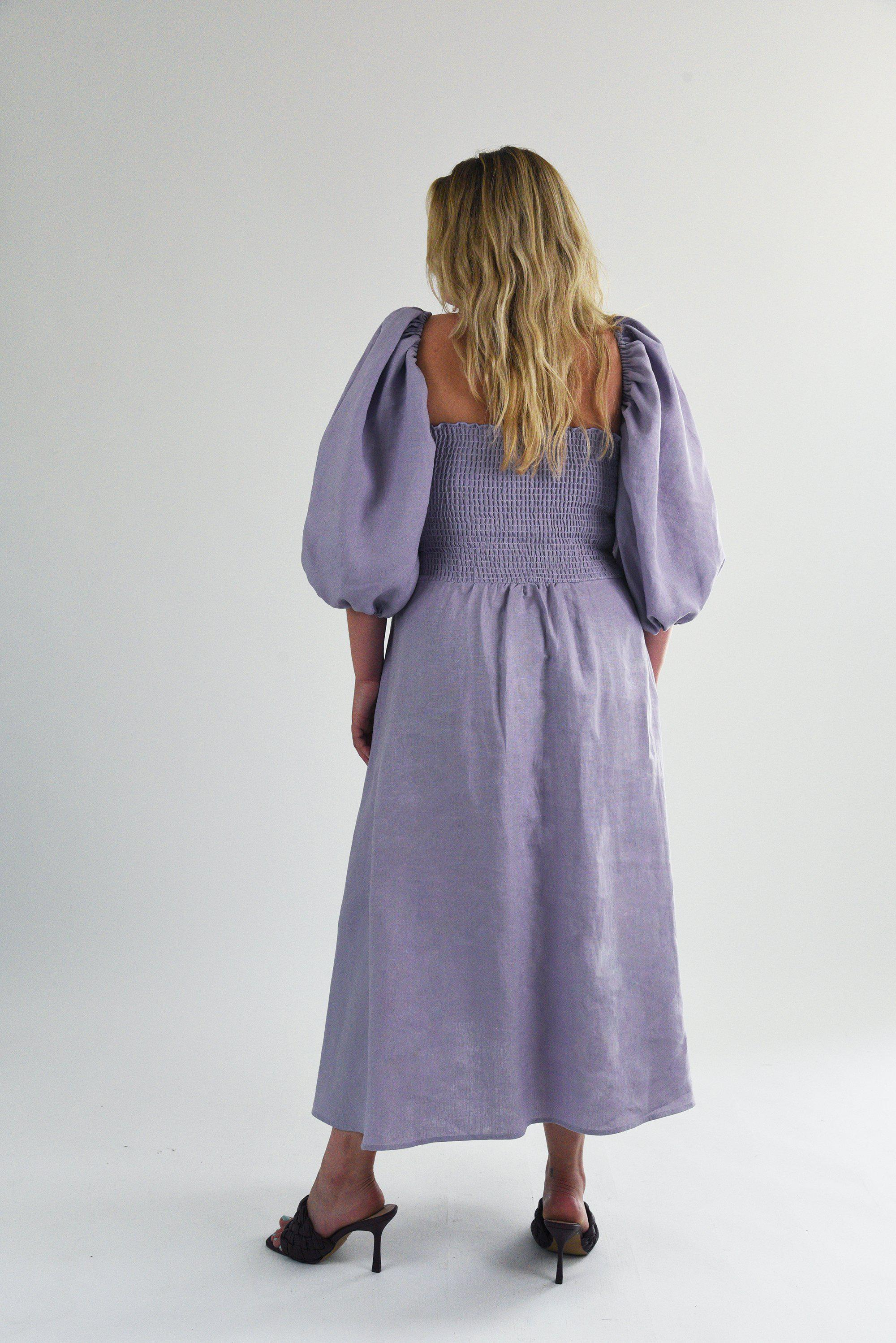 The Colette Dress in Lilac Linen 6