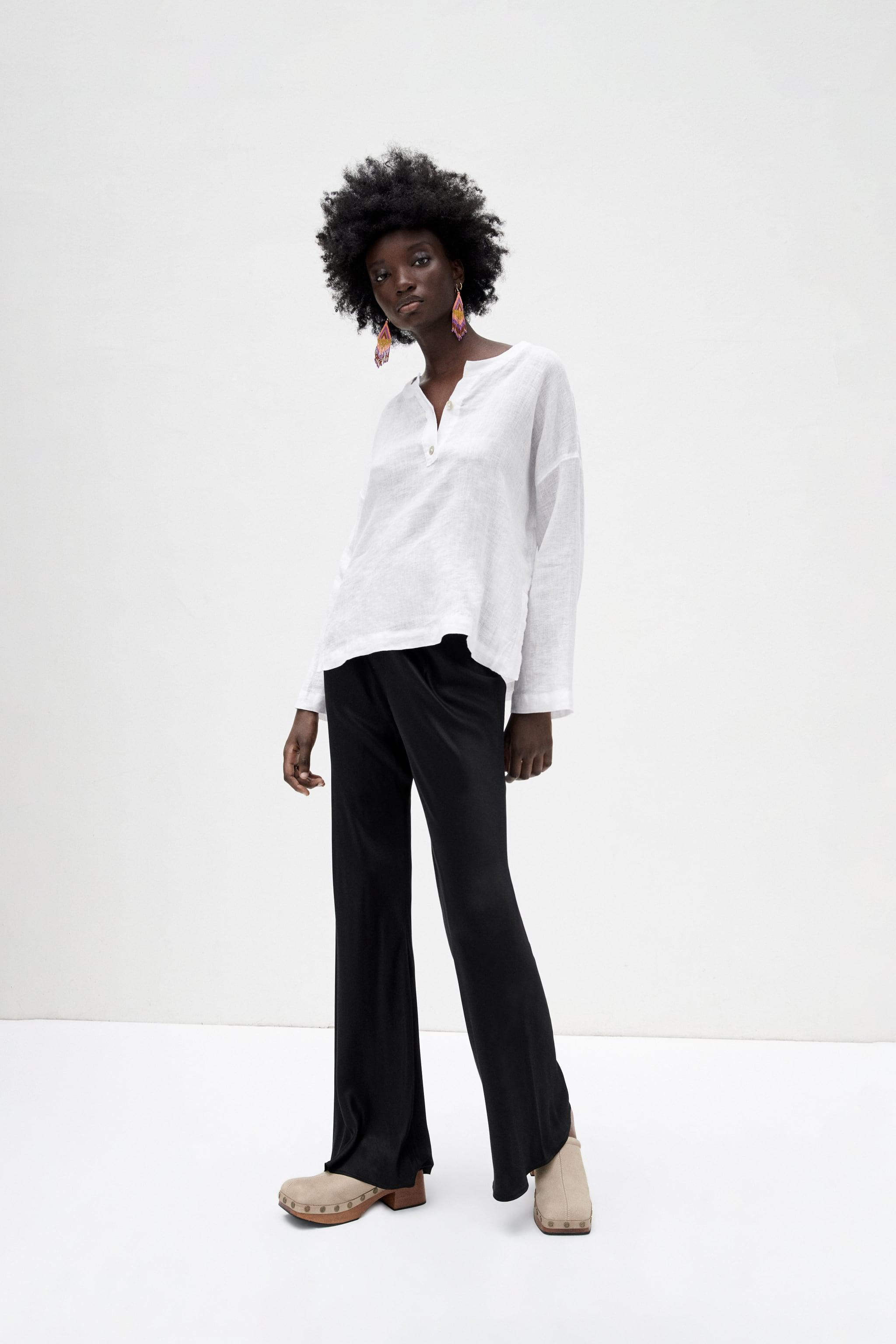 FLARED SATIN EFFECT PANTS