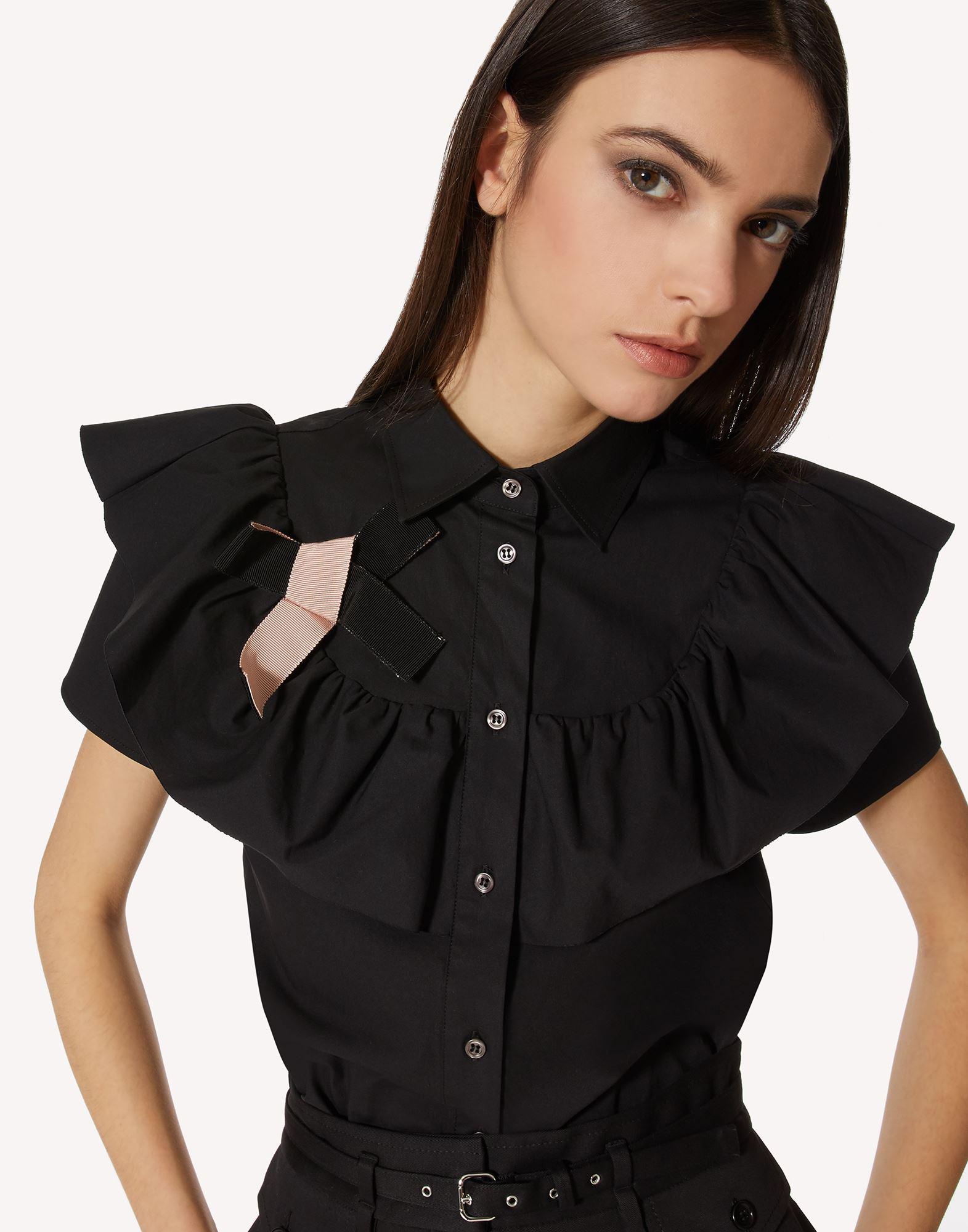 COTTON POPLIN SHIRT WITH RUFFLE AND BOW DETAIL 3