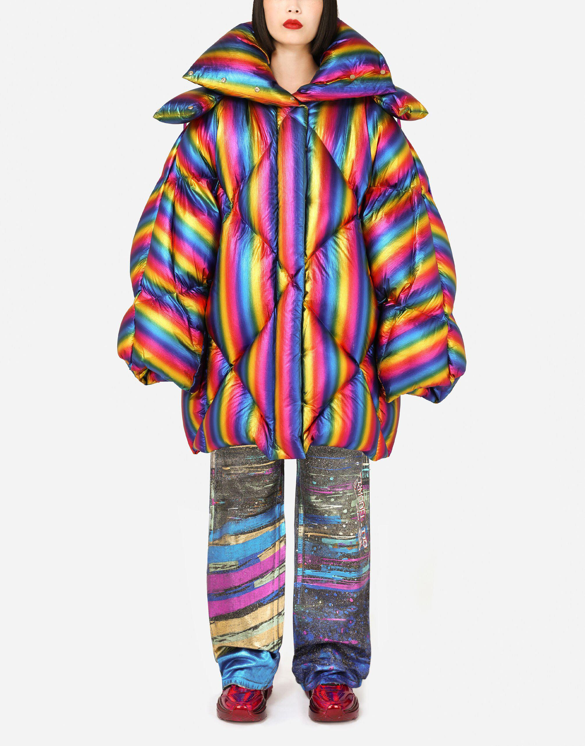 Foiled nylon down jacket with multi-colored stripes 0