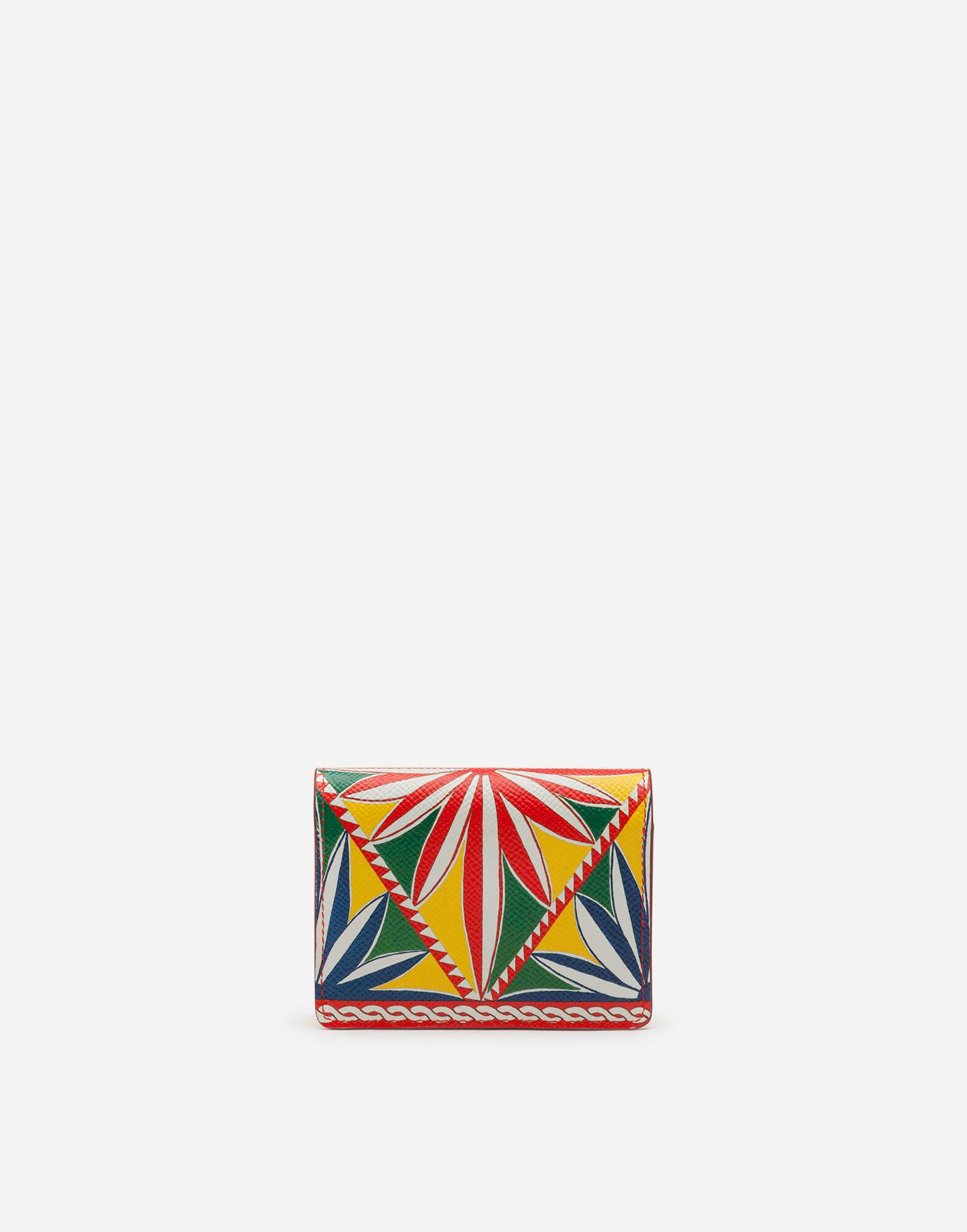 Small continental wallet in carretto-print dauphine calfskin 2