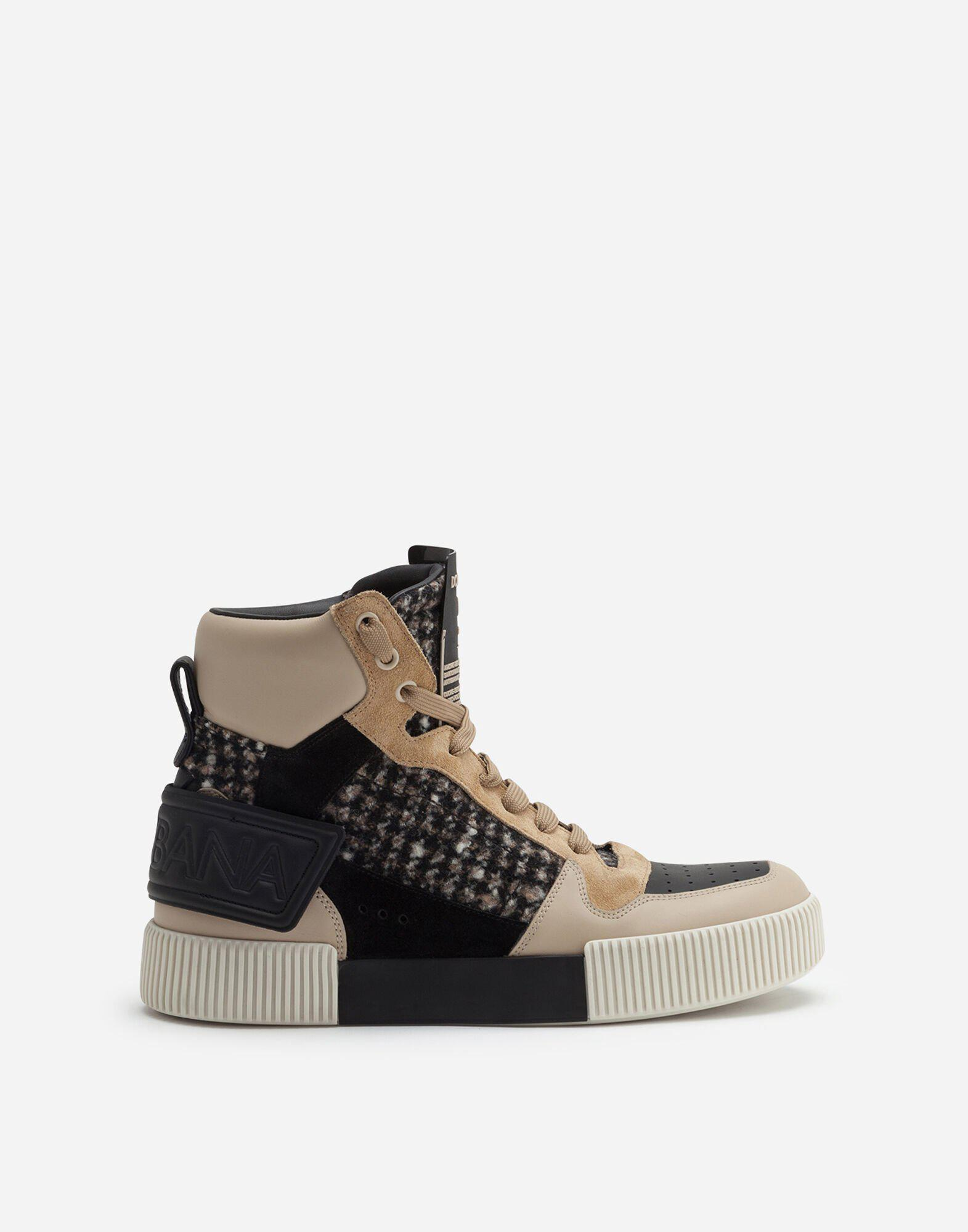 Miami high top sneakers in houndstooth and nappa leather 0
