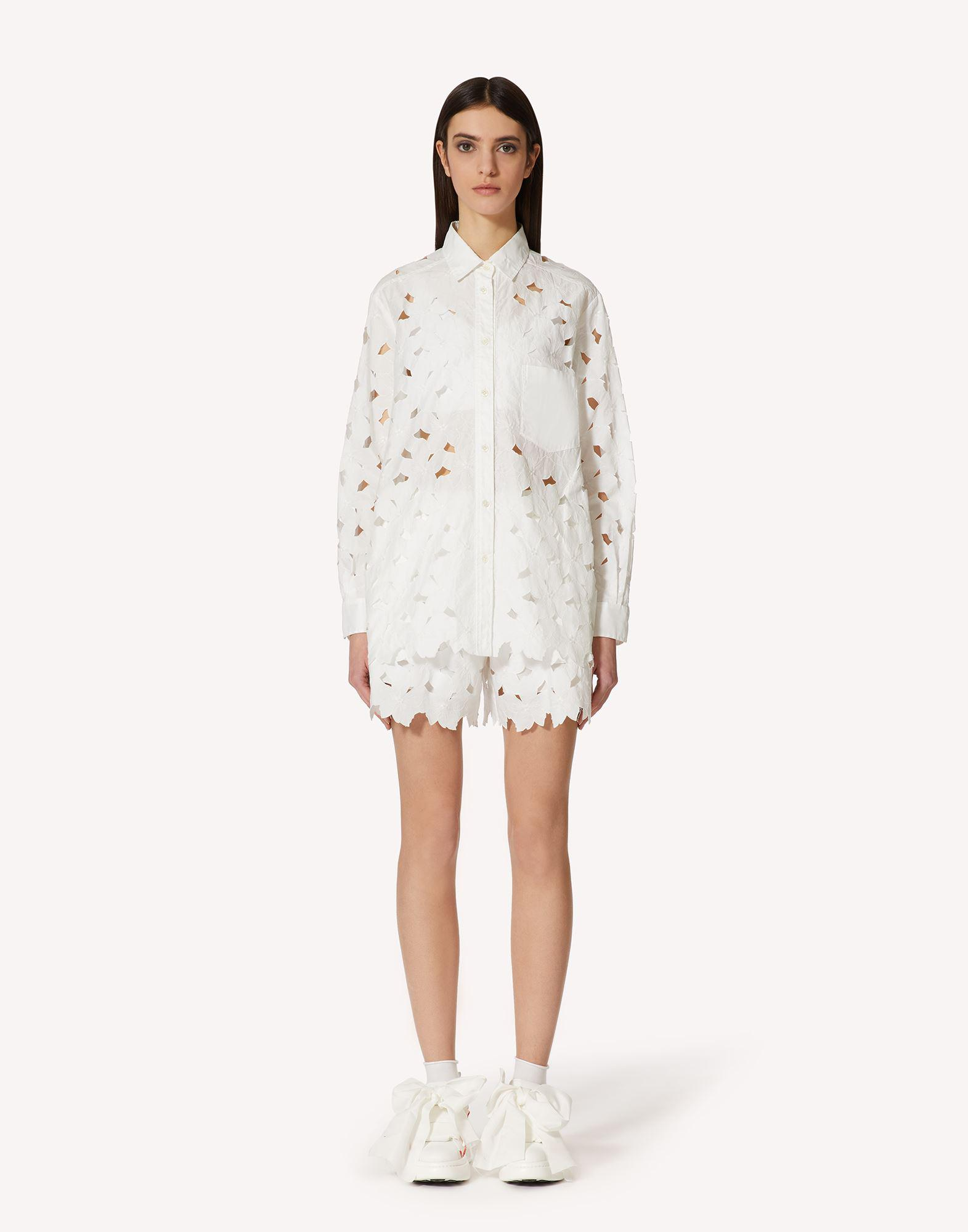 COTTON POPLIN SHIRT WITH CUT-OUT EMBROIDERY