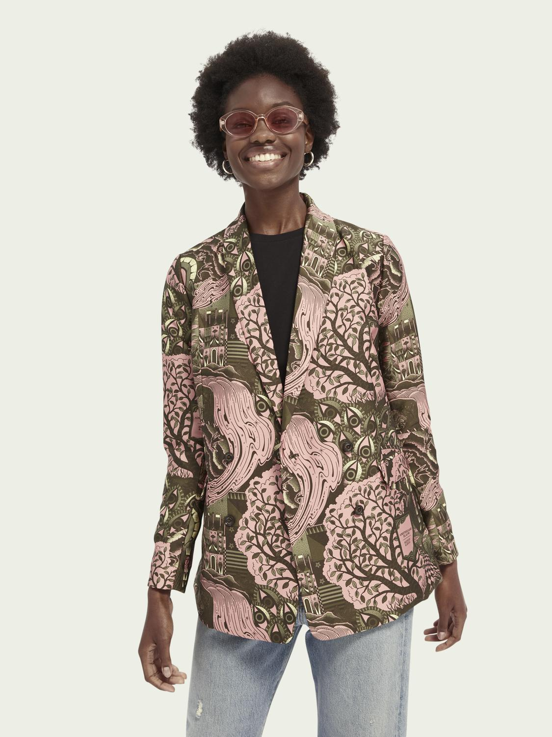Double-breasted pattern blazer