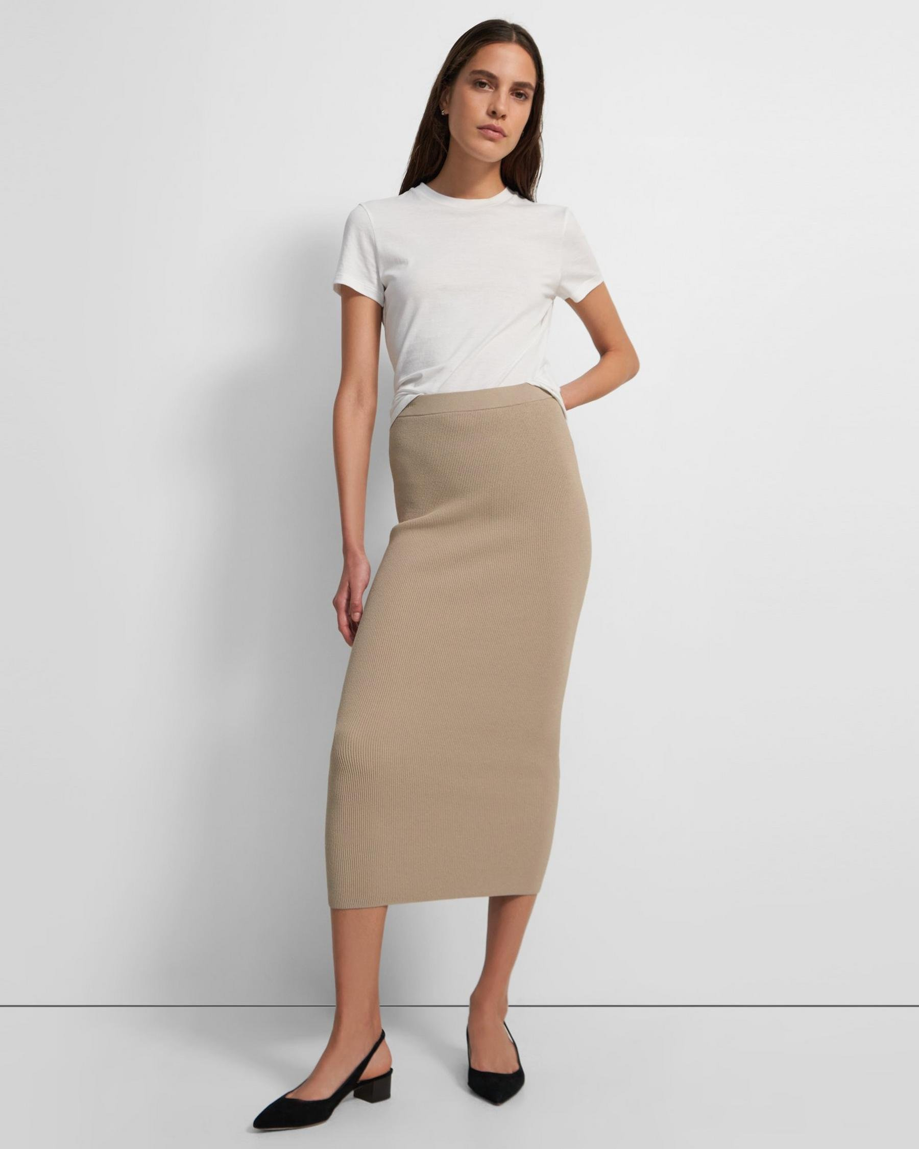 Ribbed Pencil Skirt in Crepe Knit