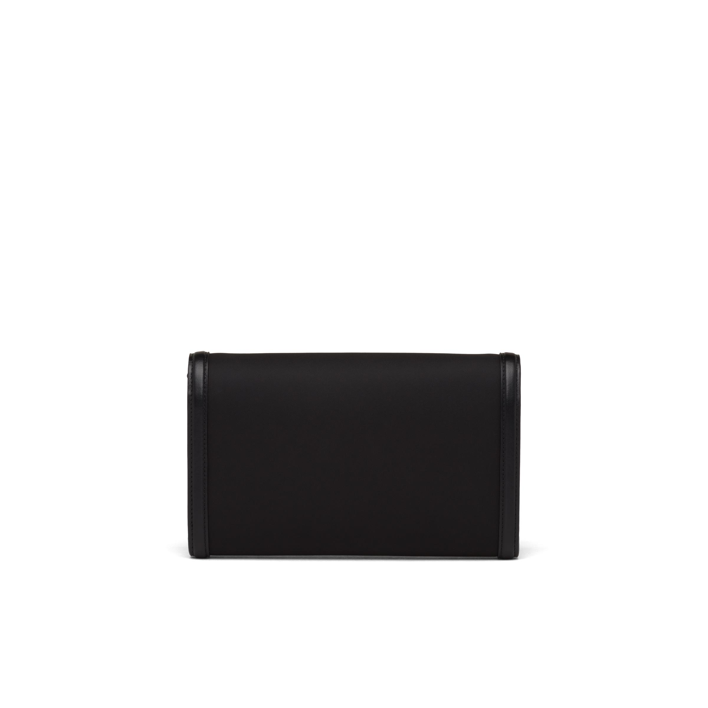 Nylon And Leather Wallet With Shoulder Strap Women Black 3