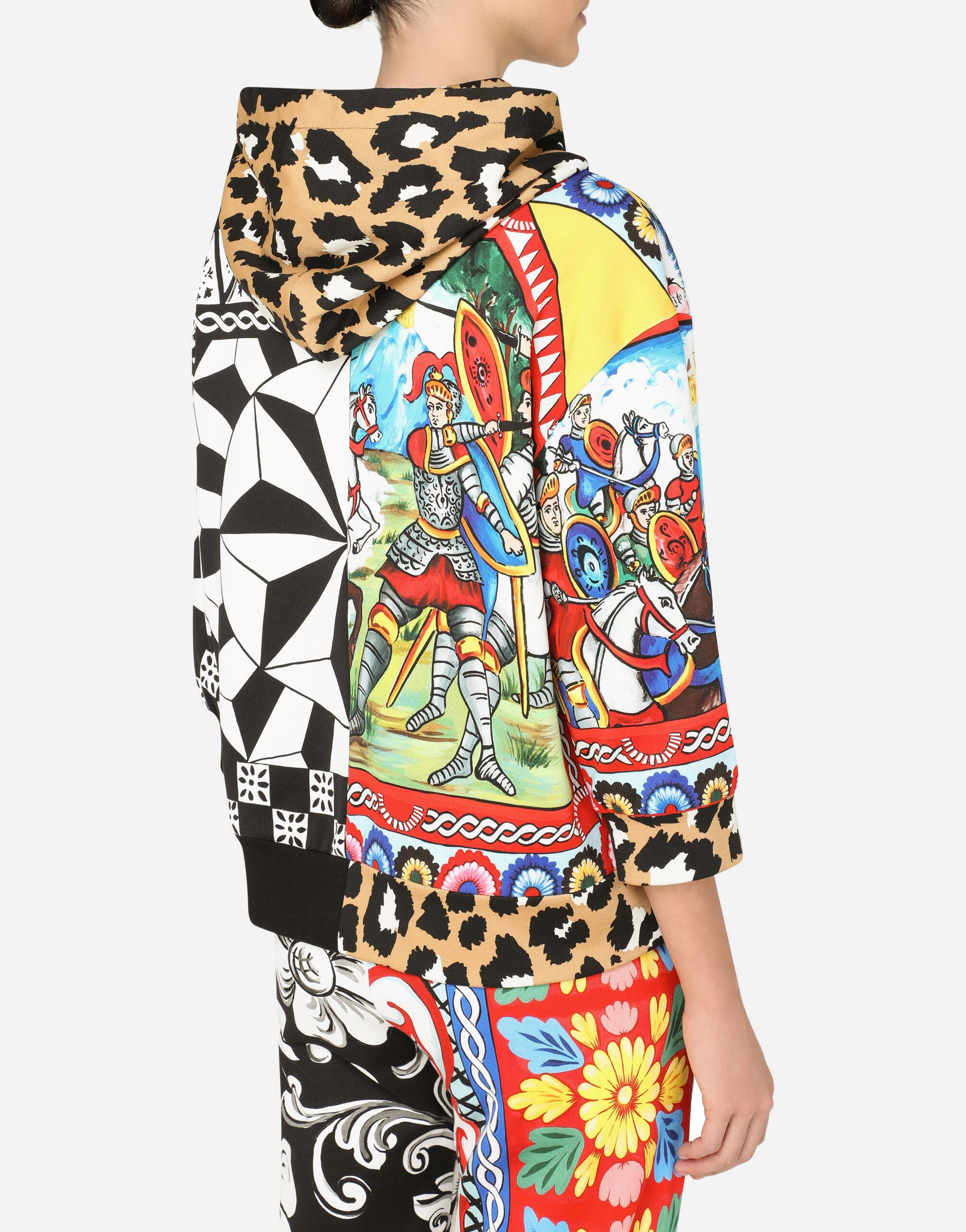 Jersey hoodie with patchwork print 3
