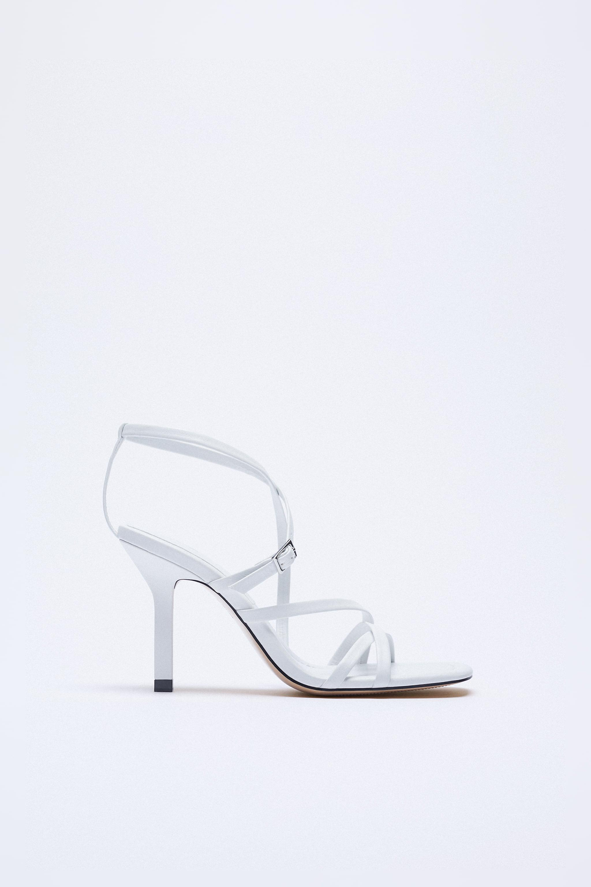 LEATHER HIGH HEEL STRAPPY SANDALS WITH BUCKLE 8