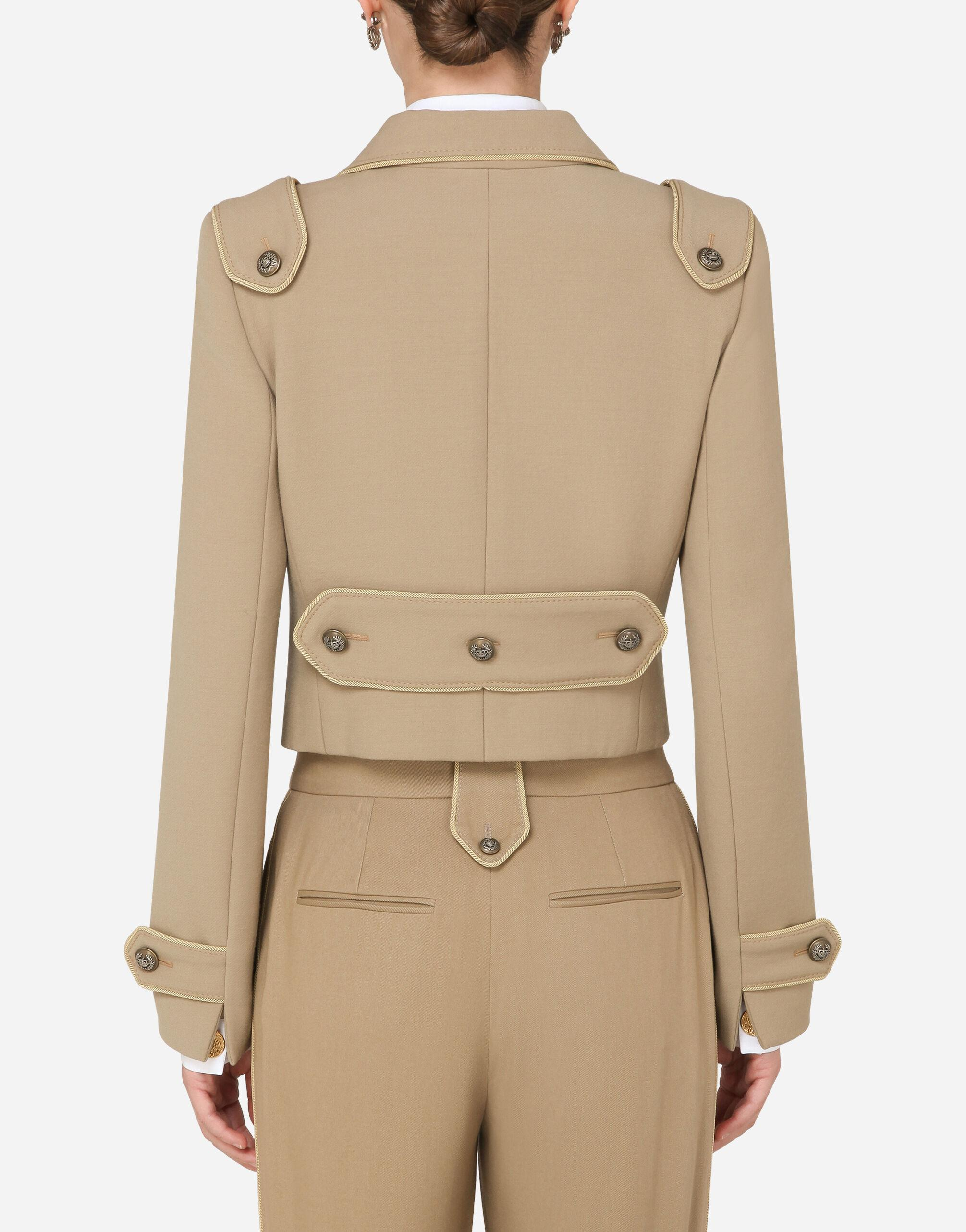 Cropped double-breasted jacket in wool with decorative buttons 1