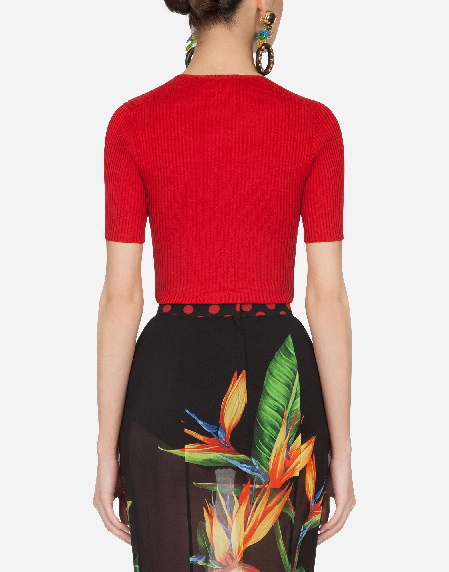 Short-sleeved ribbed sweater in silk 1