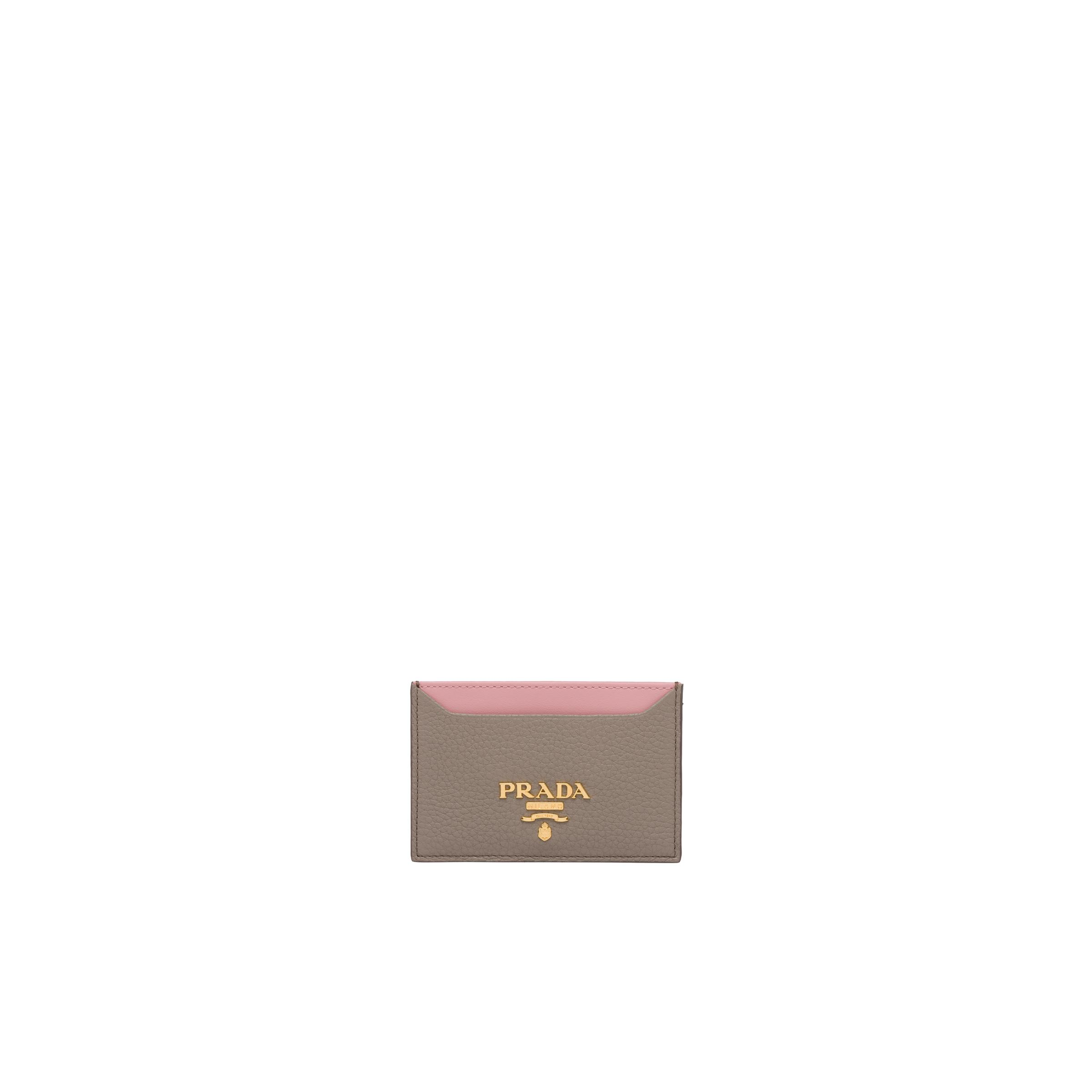 Leather Card Holder Women Clay Gray/peach
