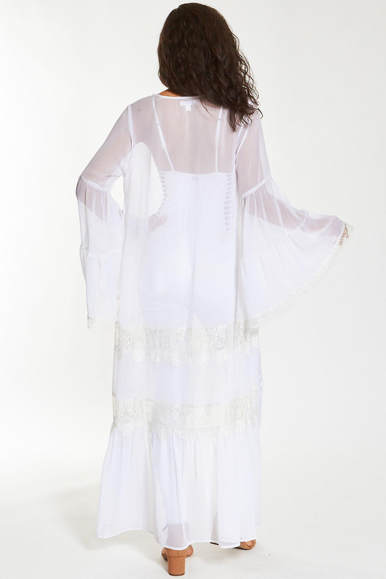 White Felicia Long Duster with Lace Inserts 2