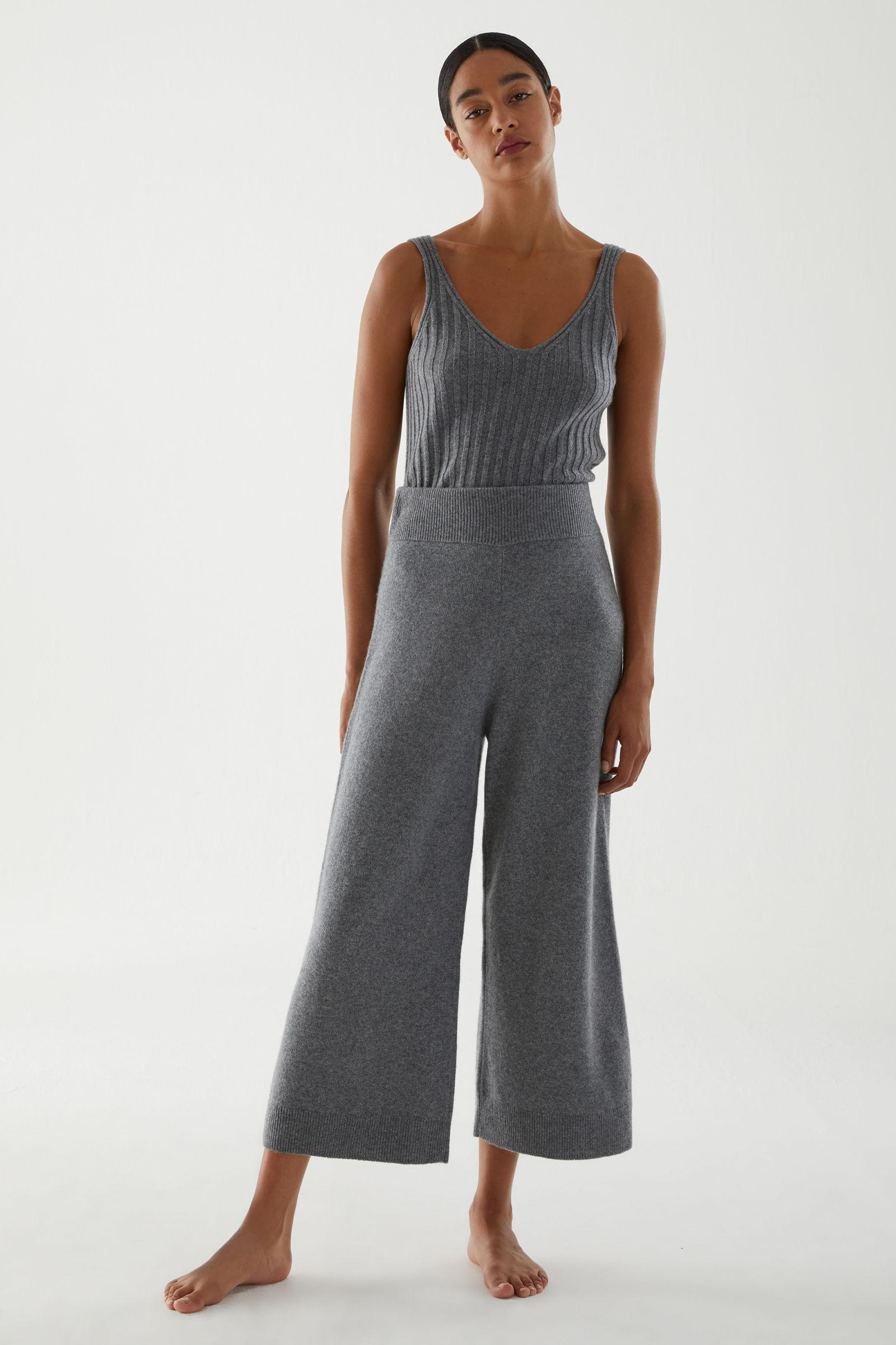 RECYCLED CASHMERE WIDE-LEG PANTS