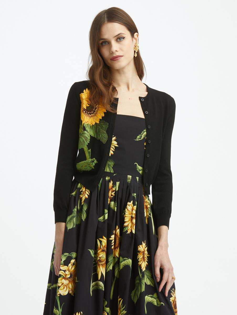 SUNFLOWER EMBROIDERED KNIT CARDIGAN