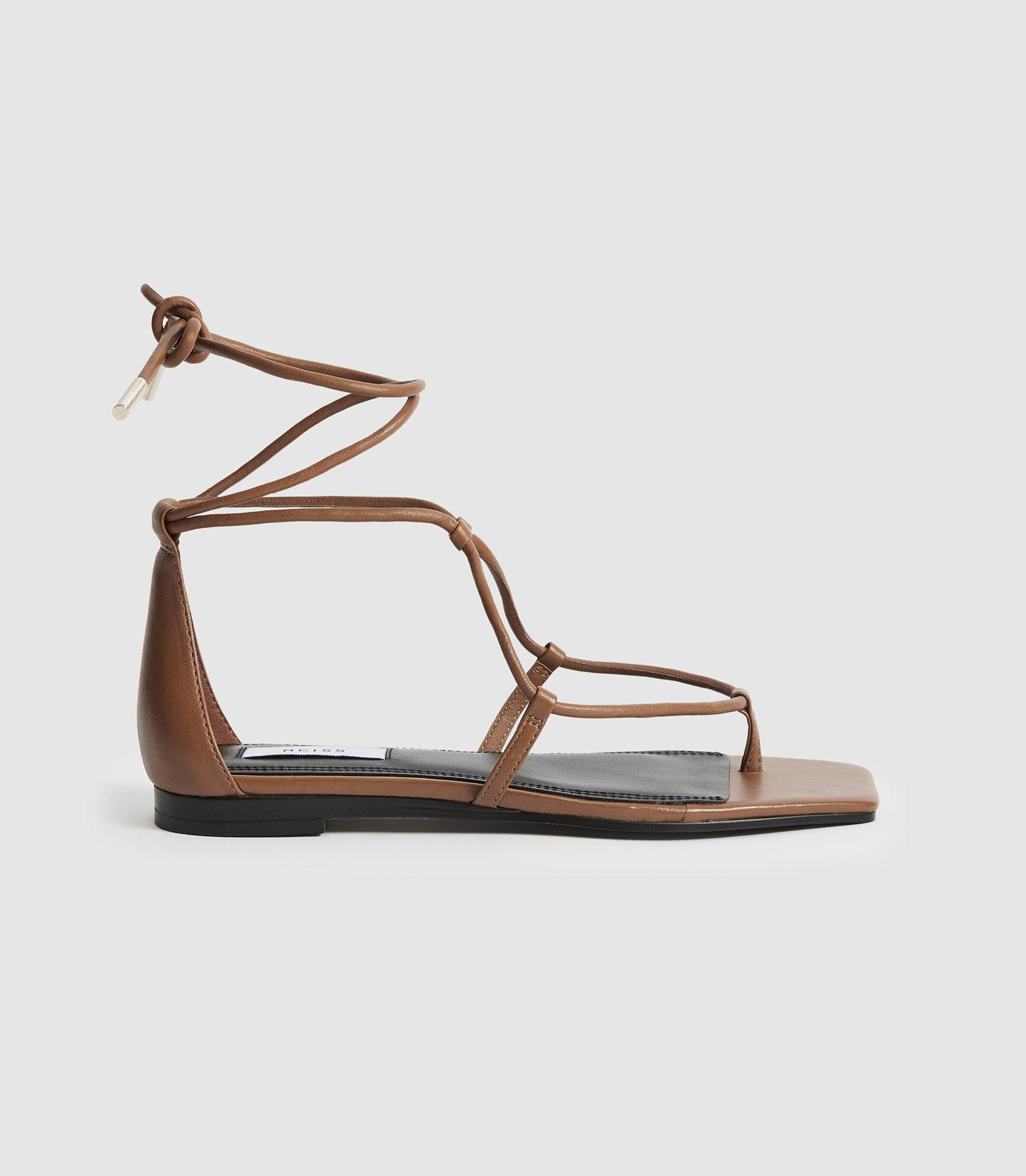 KALI FLAT - LEATHER STRAPPY WRAP SANDALS