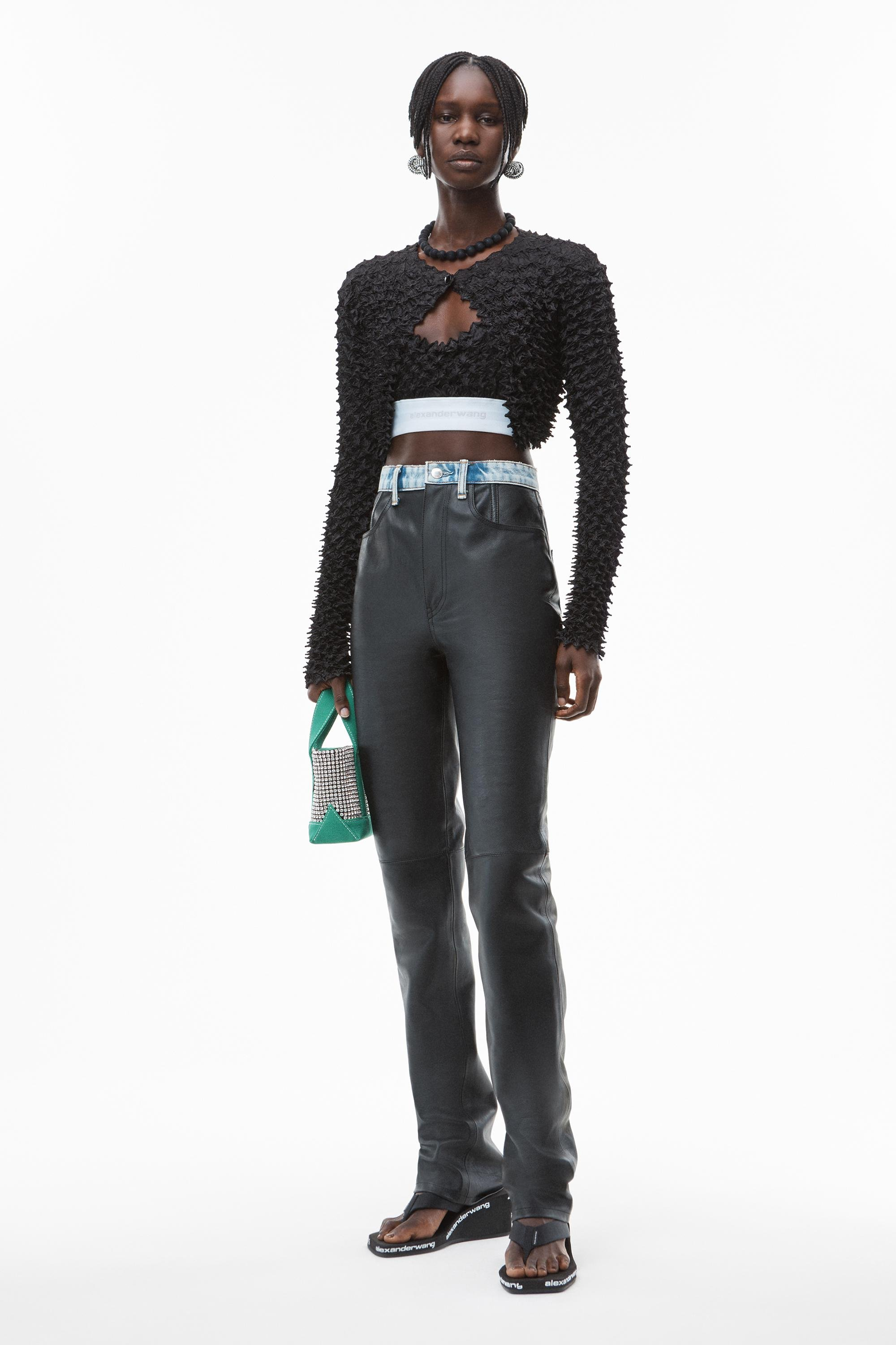 slim contrast jeans in moto leather
