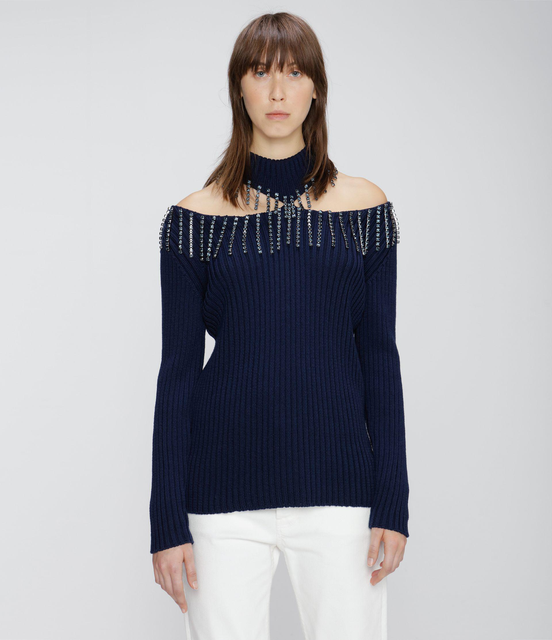 crystal cupchain cut-out sweater