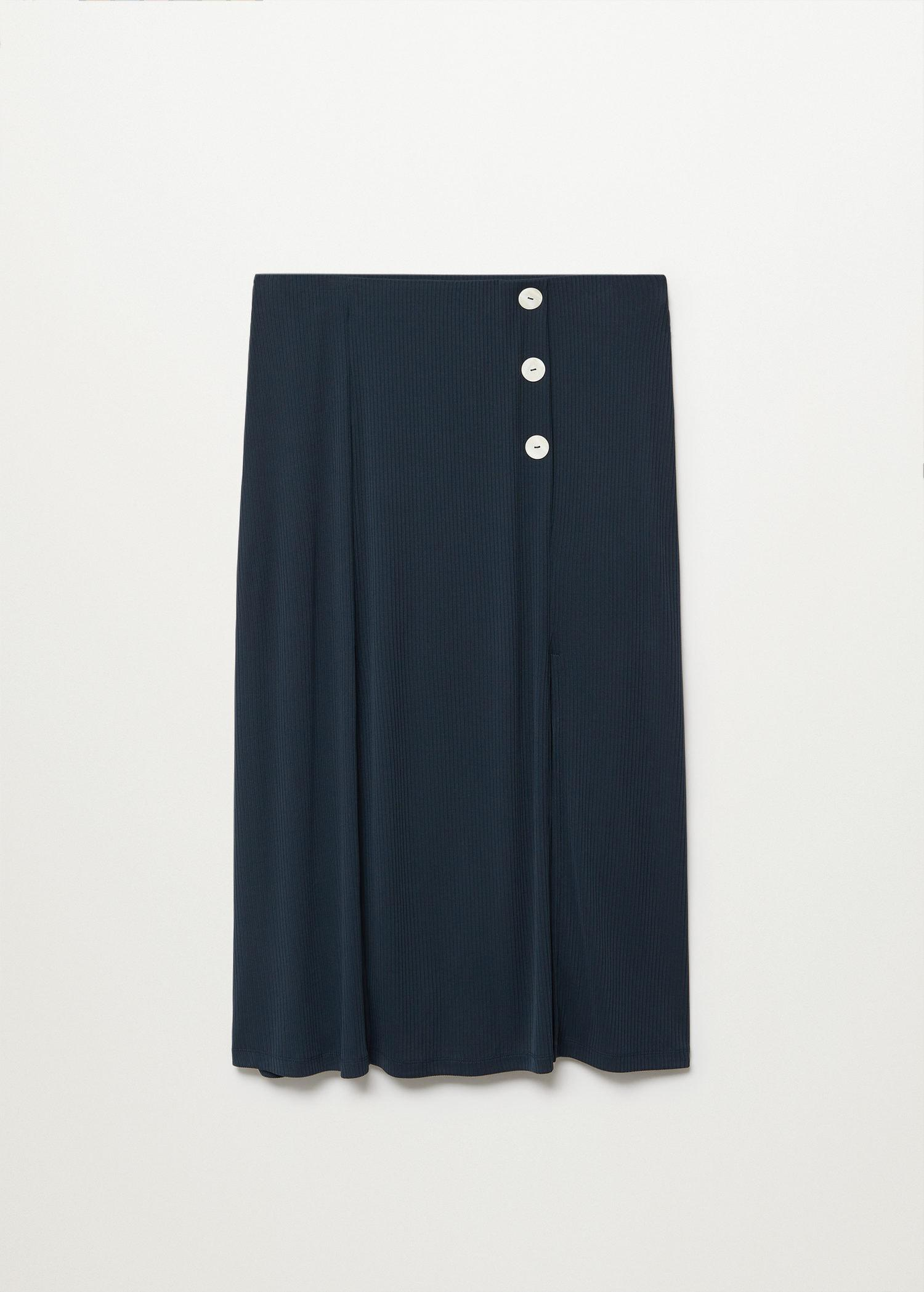 Buttoned ribbed skirt 6