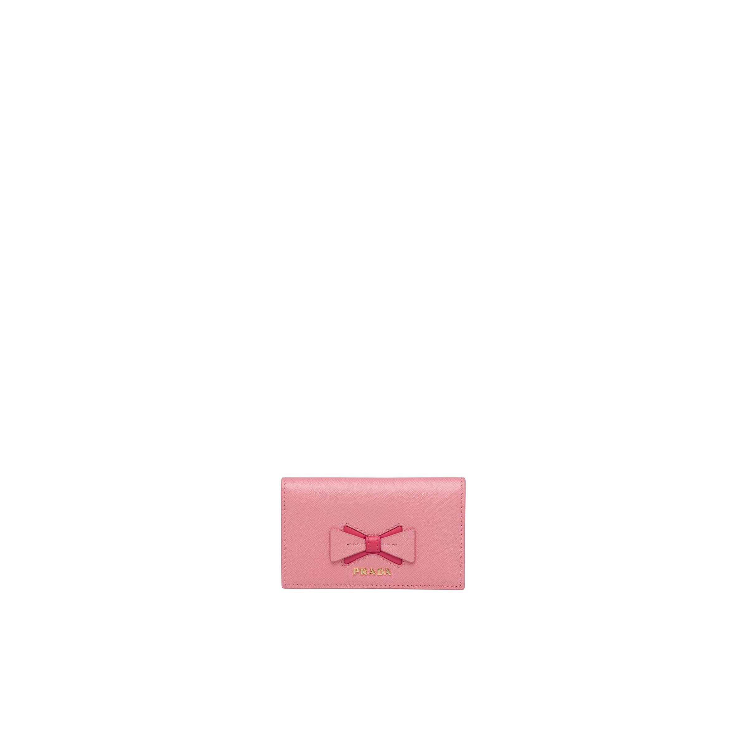 Saffiano Leather Card Holder With Bow Women Petal Pink/peony Pink