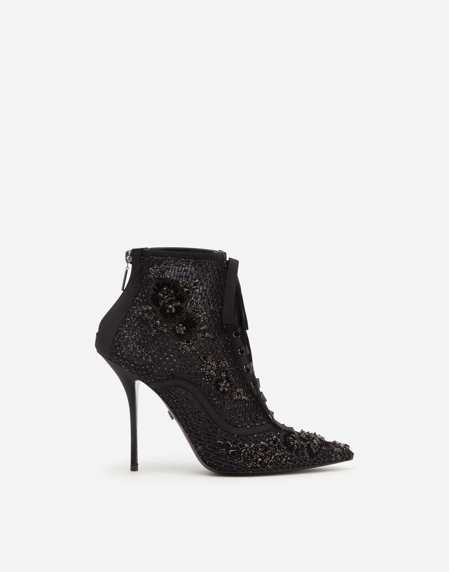 Booties with embroidery, rhinestone and bead embellishment