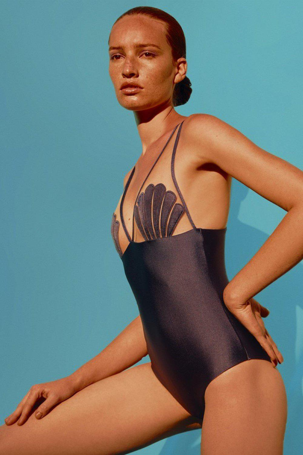 Marine Swimsuit With Seashell And Tulle