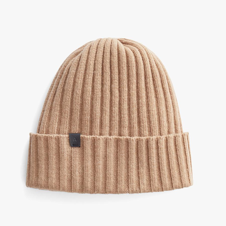 Women's Wool Cashmere Ribbed Beanie in Camel   Wool Cashmere Blend by Cuyana 4