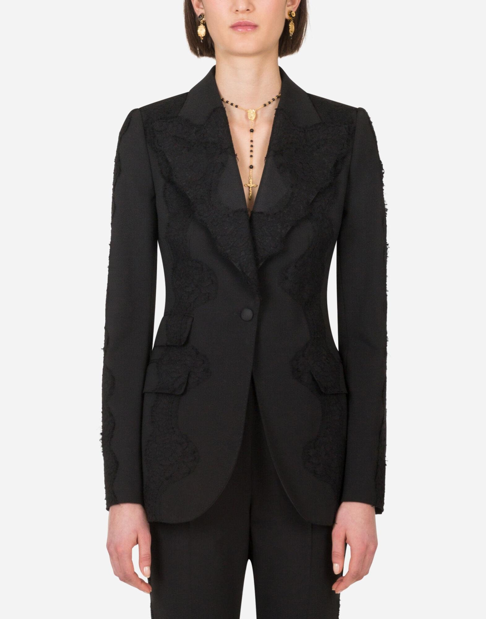 Single-breasted woolen blazer with lace details