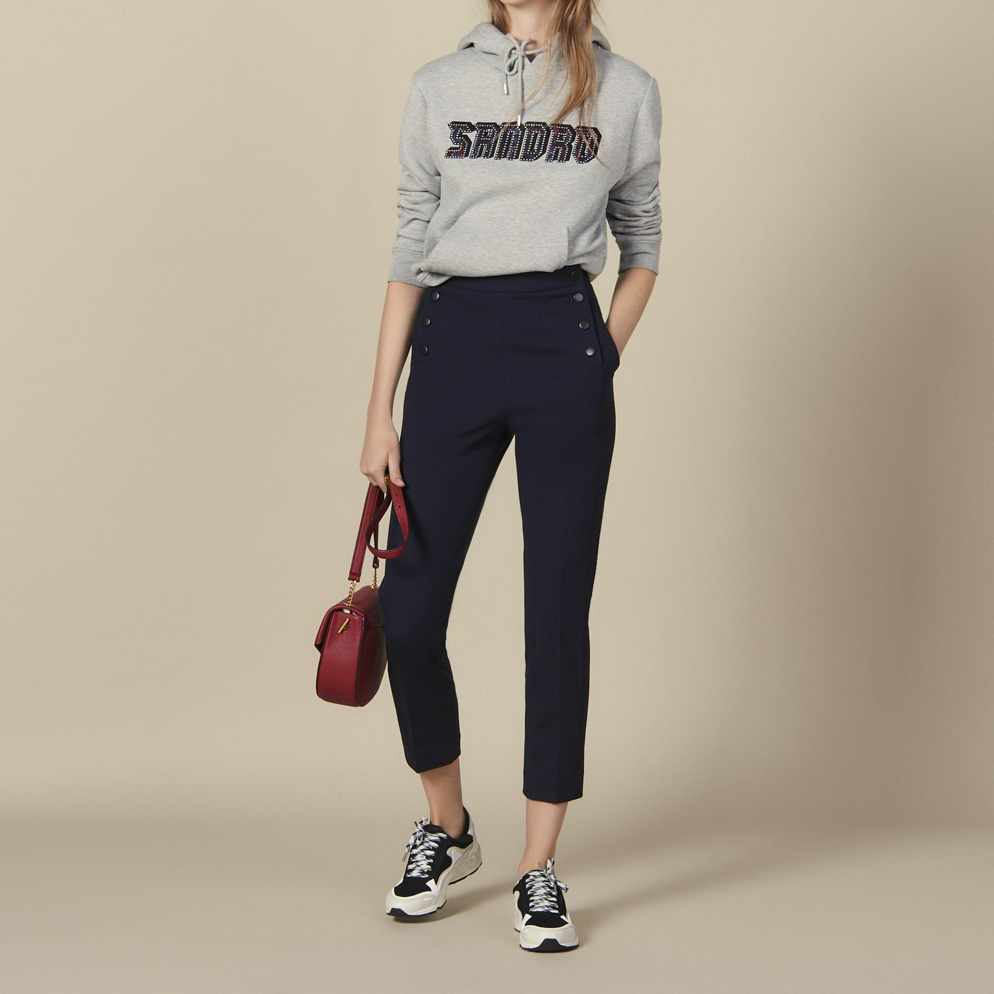 Tapered pants with fall front