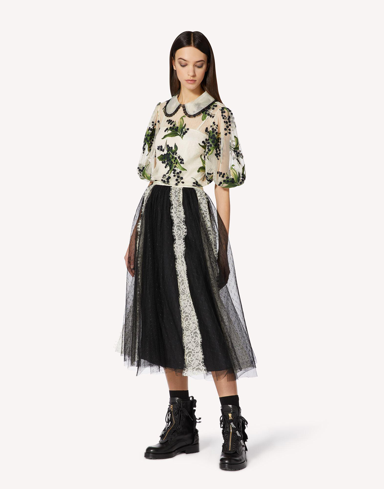 POINT D'ESPRIT TULLE SKIRT WITH LACE RIBBONS 2