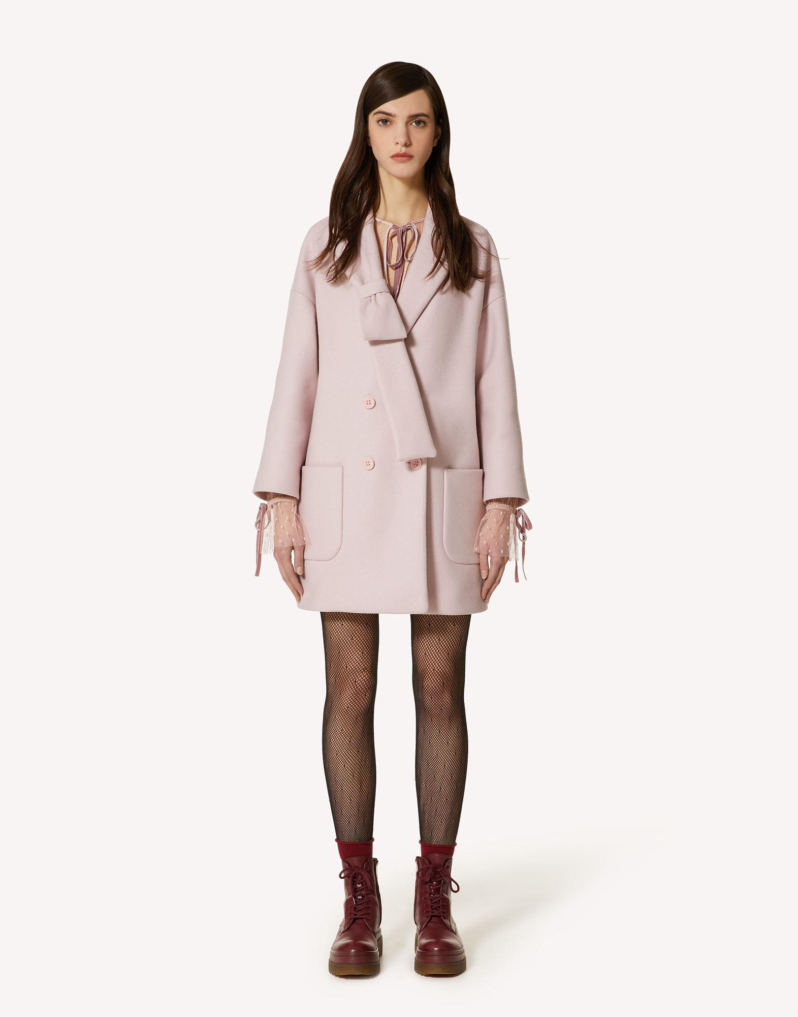 BOW DETAIL DOUBLE WOOL CASHMERE COAT