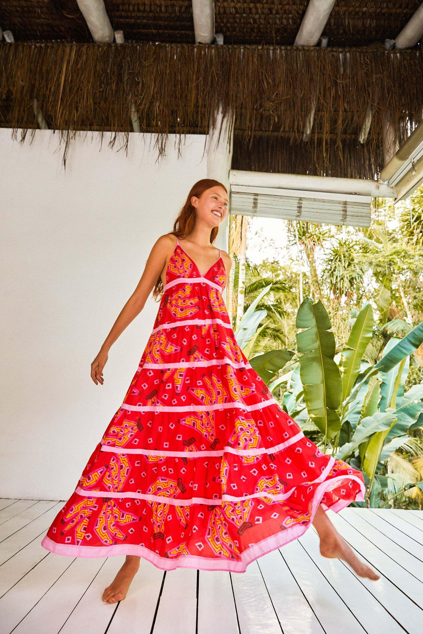 RED BANANAS MAXI TIERED DRESS
