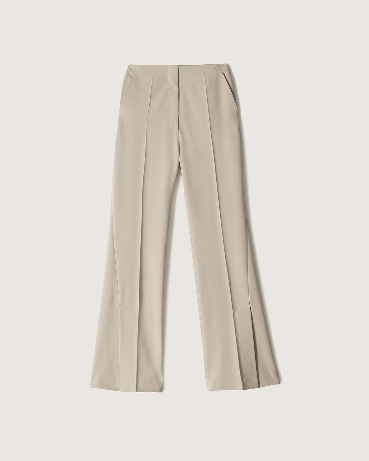 TULIP - Eco cady suiting wide-leg pants - Stone 4