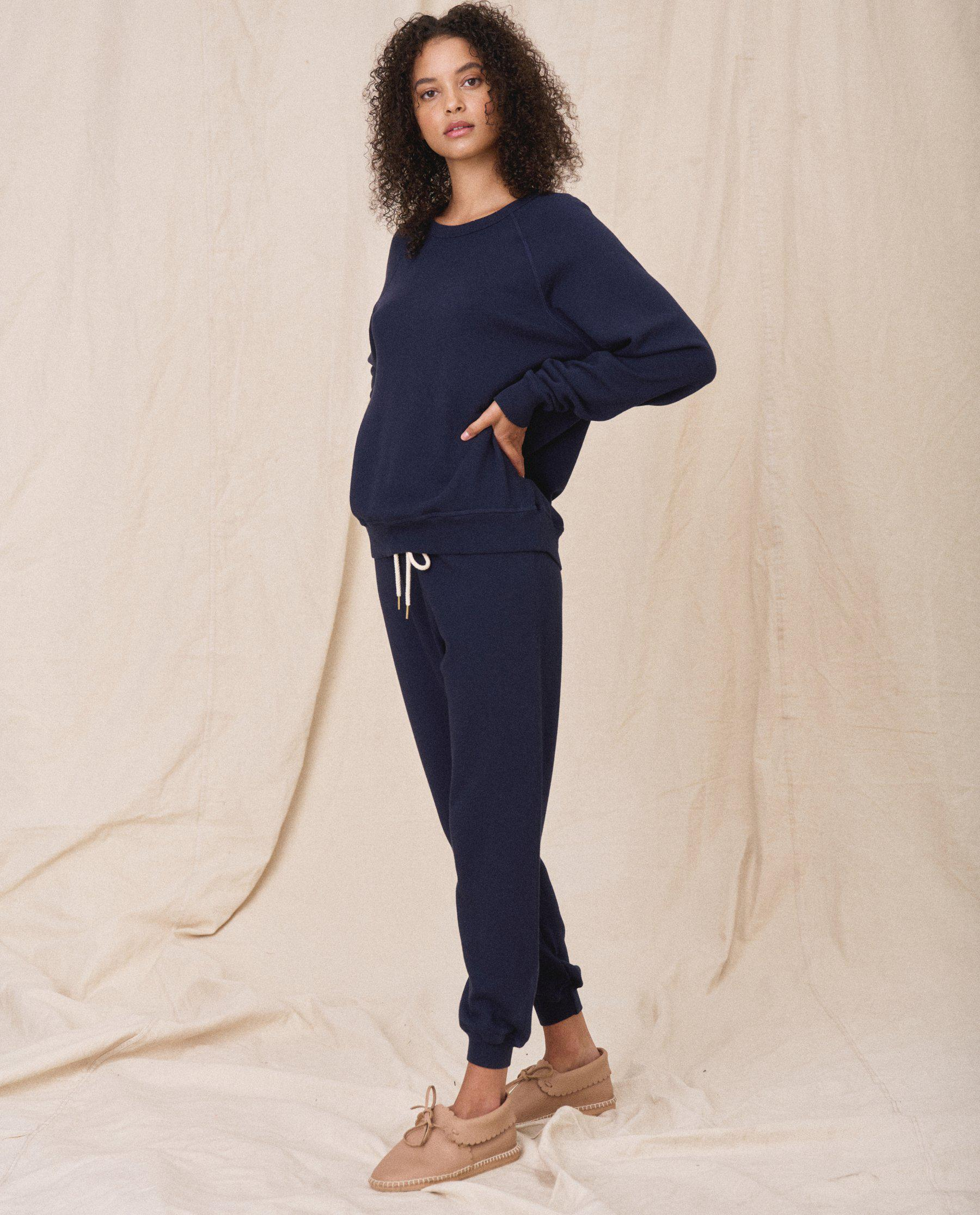 The Cropped Sweatpant. Solid -- True Navy