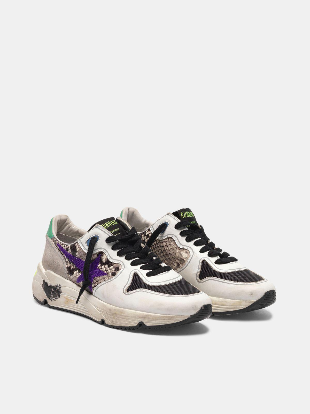 Running Sole sneakers in snakeskin print leather with purple embroidered star 2