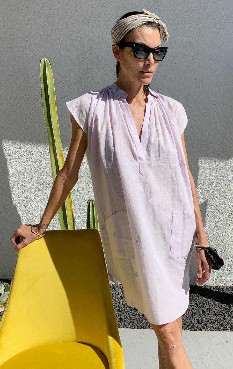 Lavender khadi Pocket Tunic with handwoven triangle detail