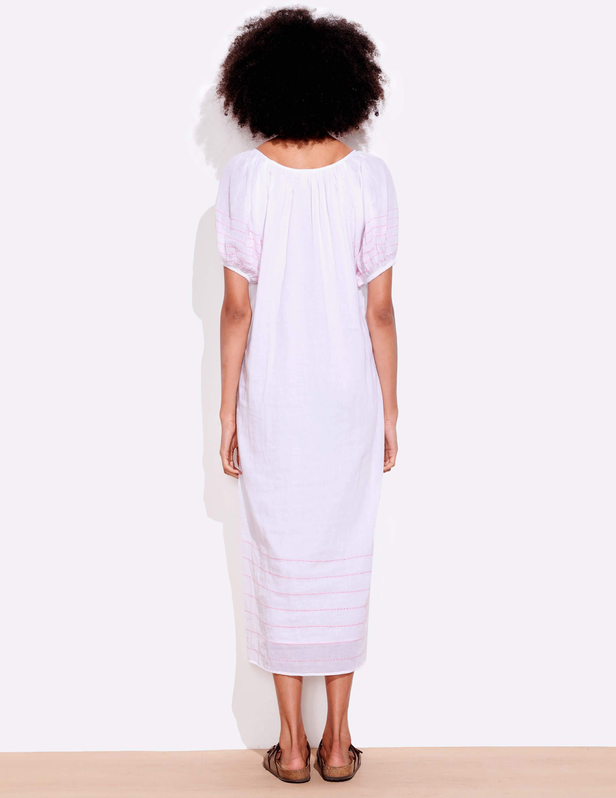 Bubble Sleeve Embroidered Maxi Dress 3