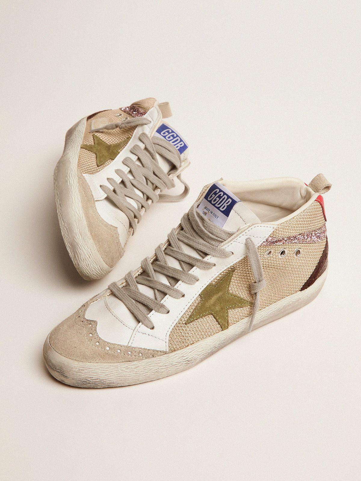 Mid Star sneakers in cream-colored mesh with suede and glitter details 1