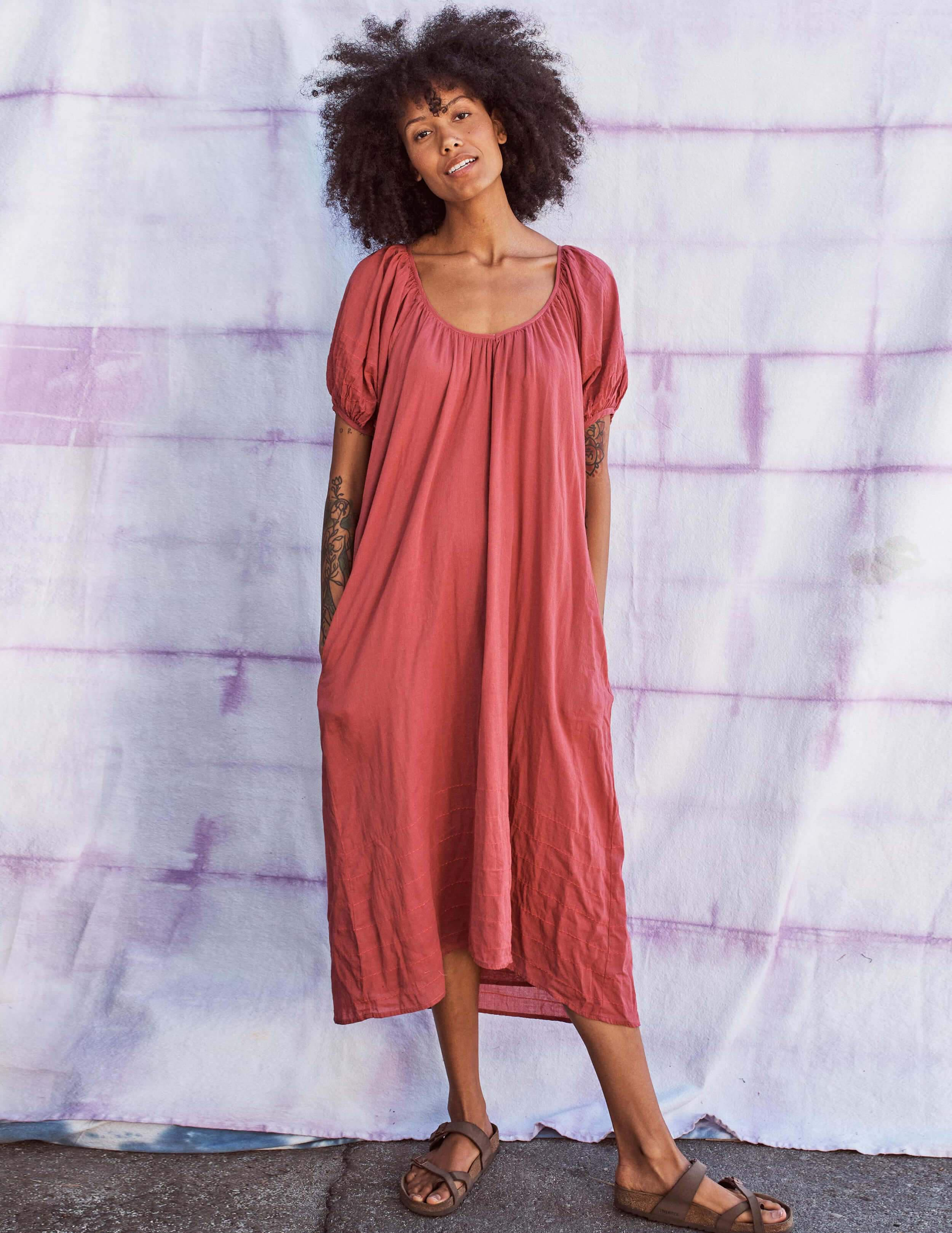 Bubble Sleeve Embroidered Maxi Dress