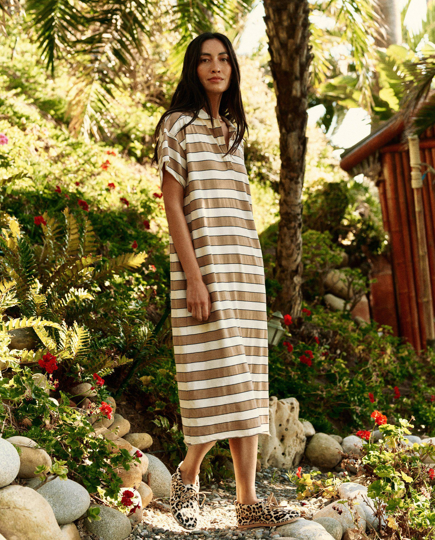 The Polo Dress. -- Tan Rugby Stripe