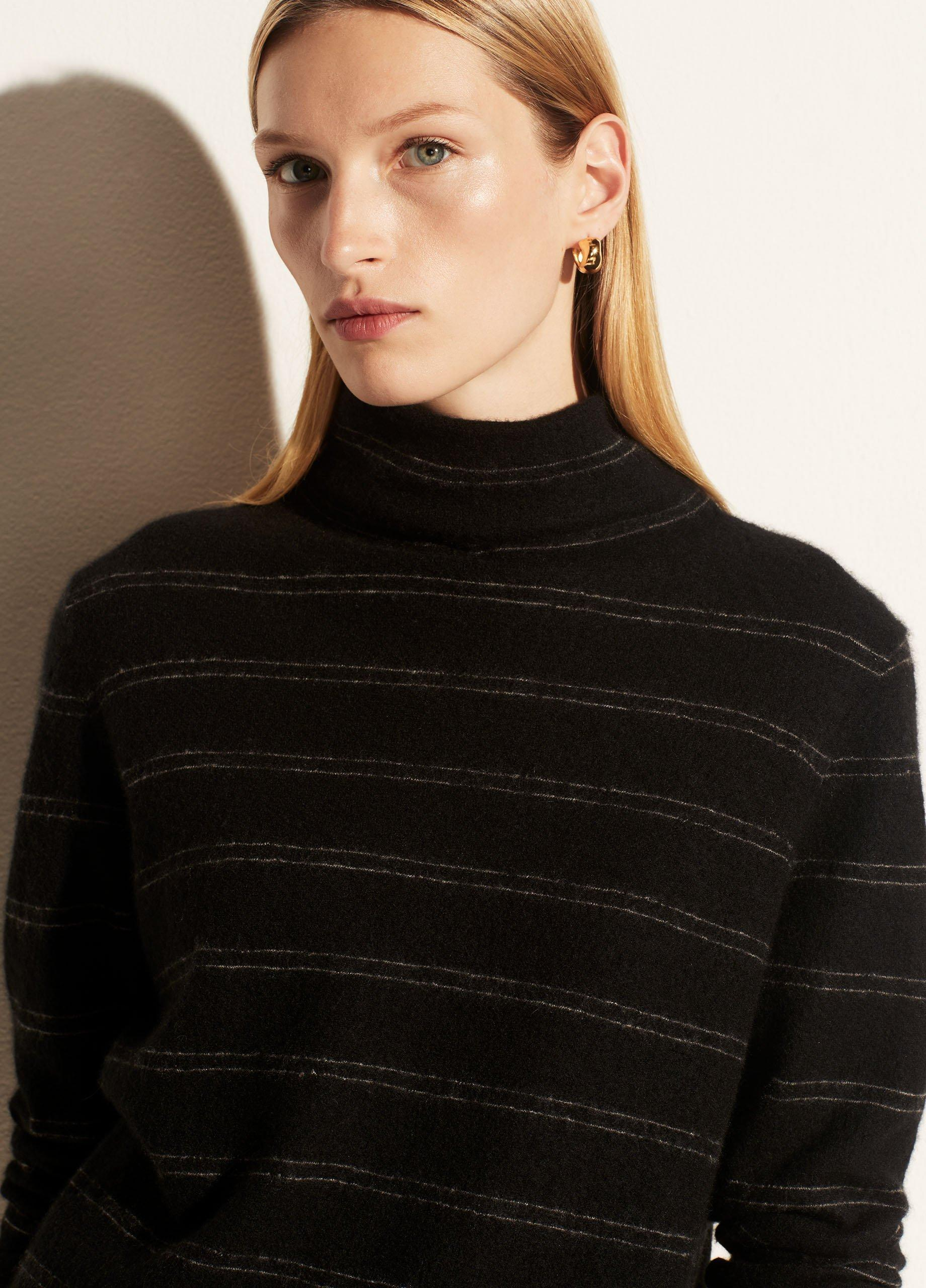 Boiled Cashmere Striped Fitted Turtleneck