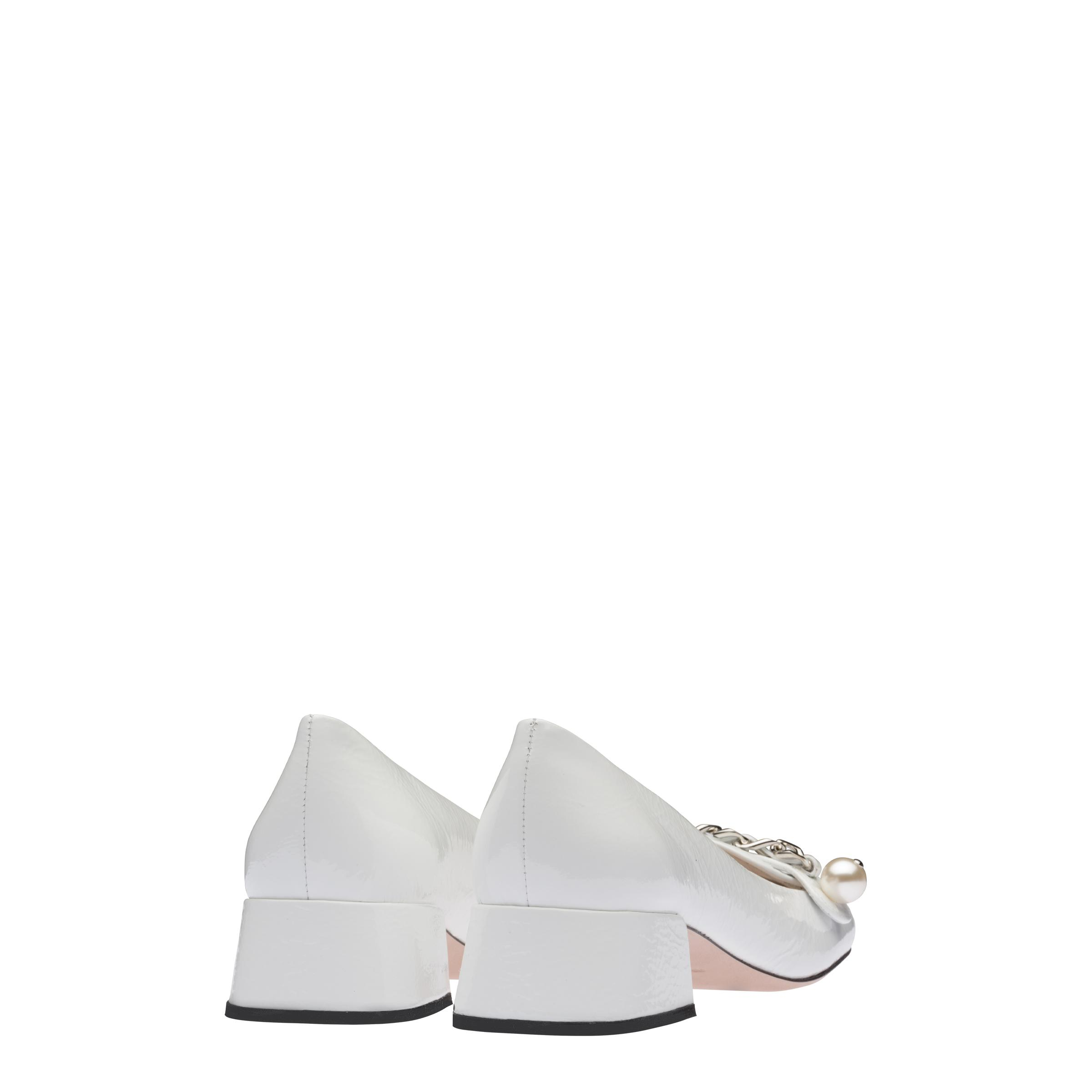 Patent Leather Loafers Women White 3