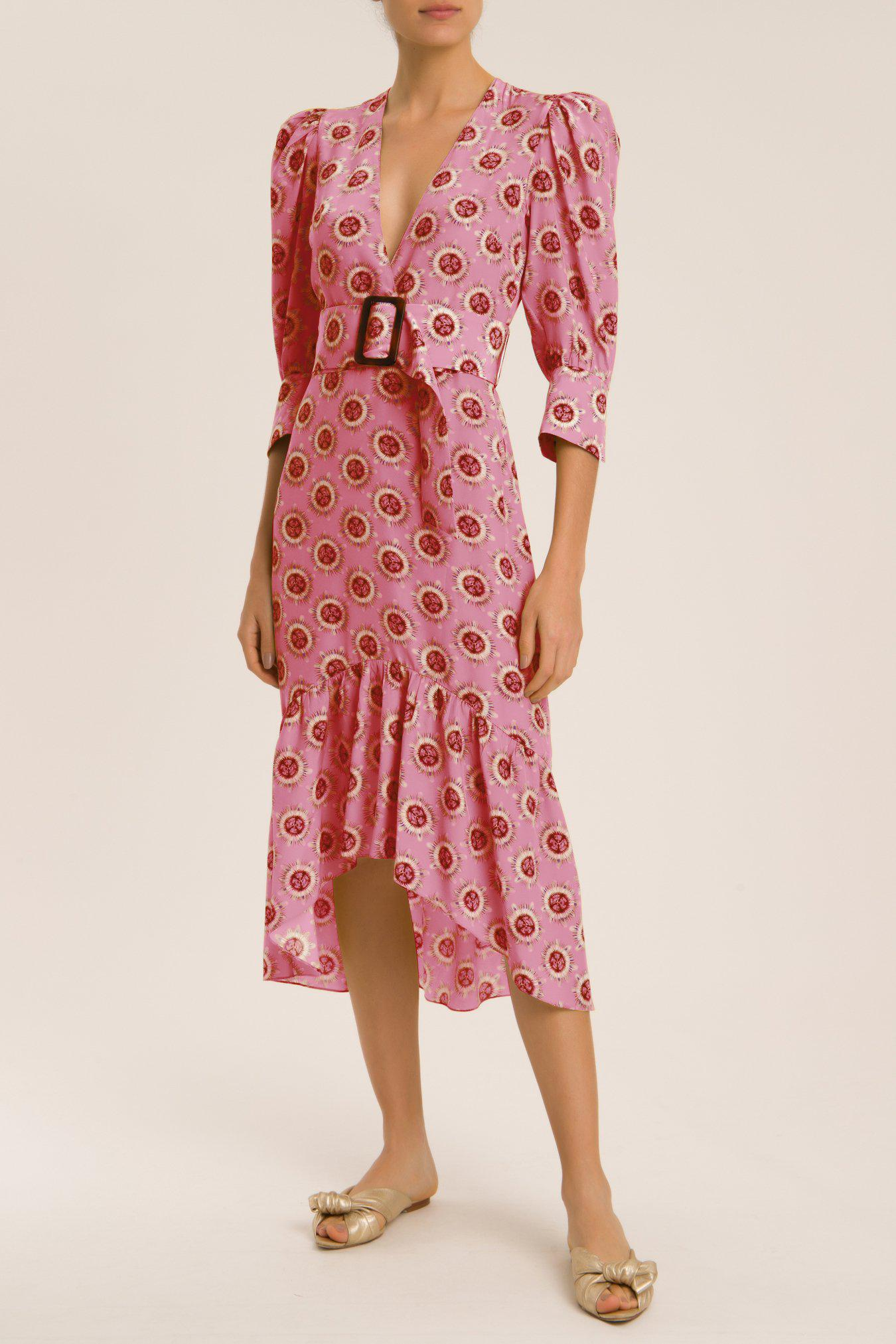 Exotic Passion Puff-Sleeved Silk Midi Dress With Belt
